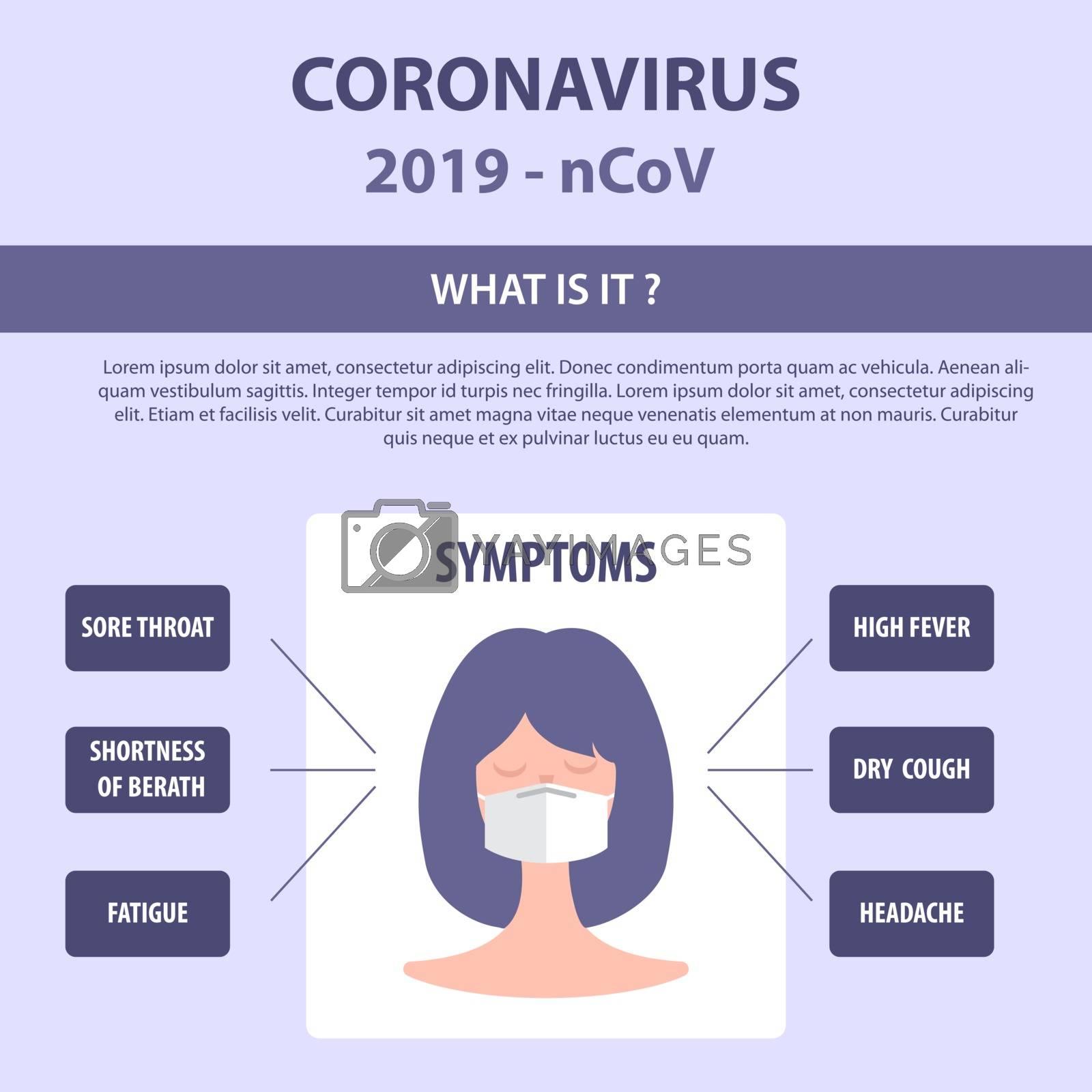 Infographic elements  of the new coronavirus. Covid-19 symptoms. Vector