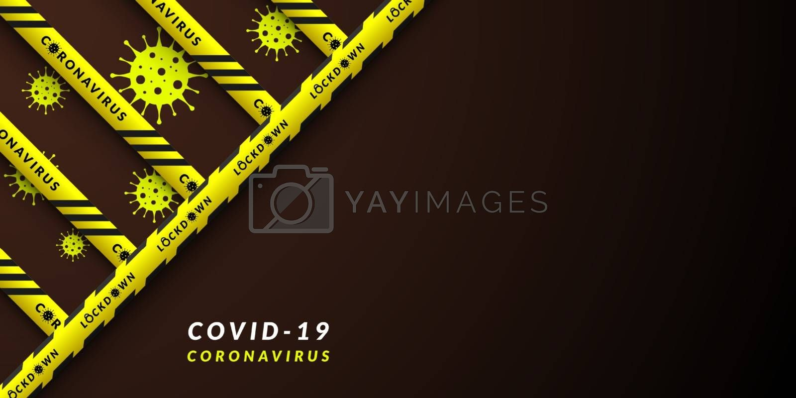 Vector design of corona virus danger warning in yellow and black stripes. Background with copy space. Dividing area Covid-19, quarantine, lockdown.