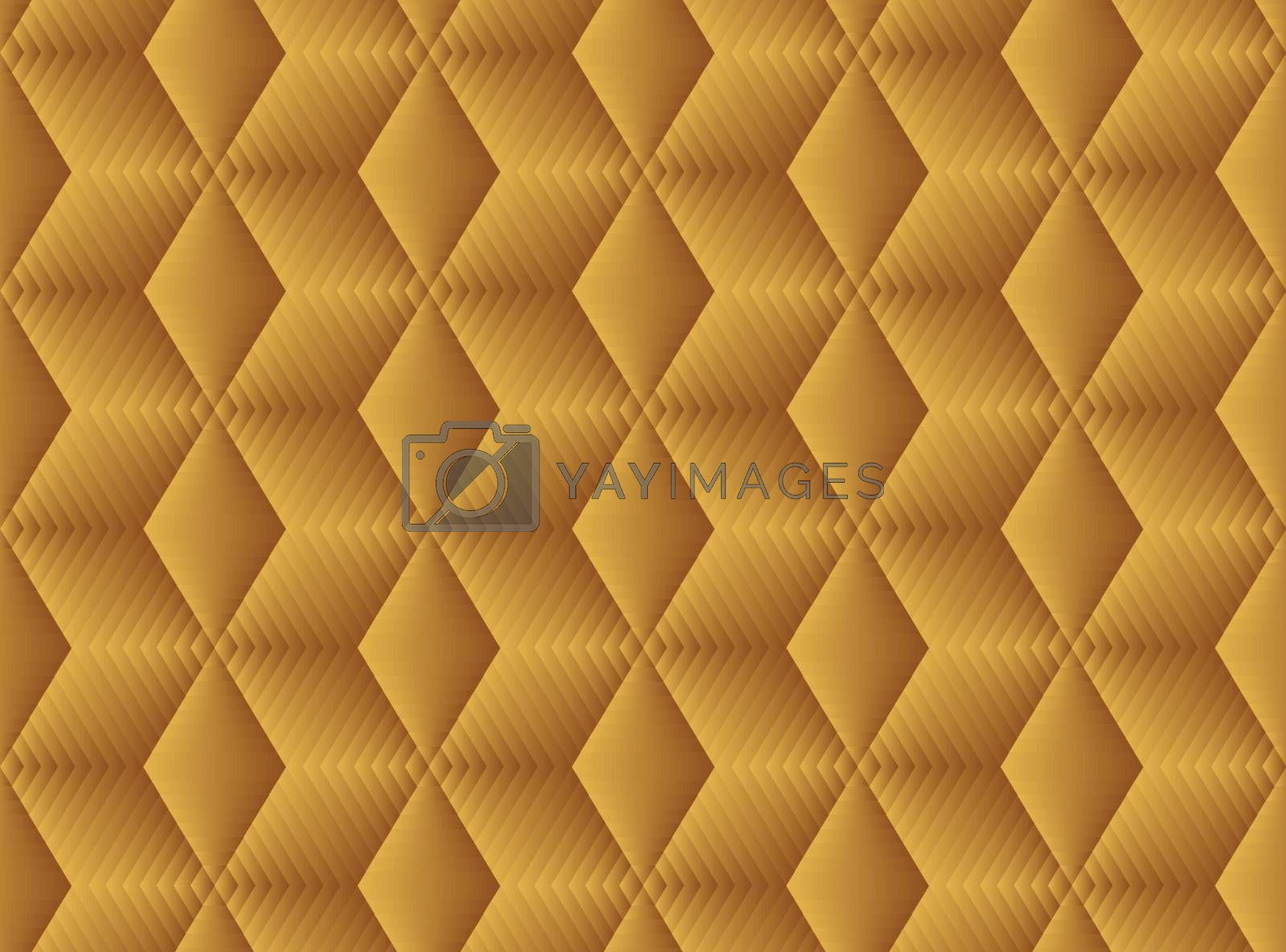 Vector Hand drawn Seamless pattern of gold geometric hexagon tiles. Gold hexagon tiles background with gold flowers. Print for wrapping, web backgrounds, etc.