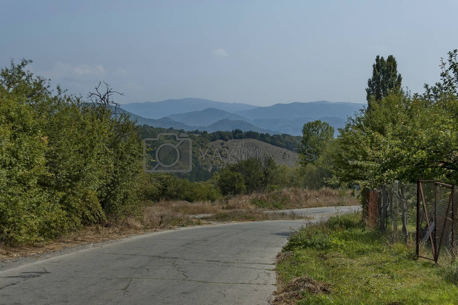 Autumn landscape of  deciduous forest with glade and road in the Sredna Gora, mountain, Bulgaria