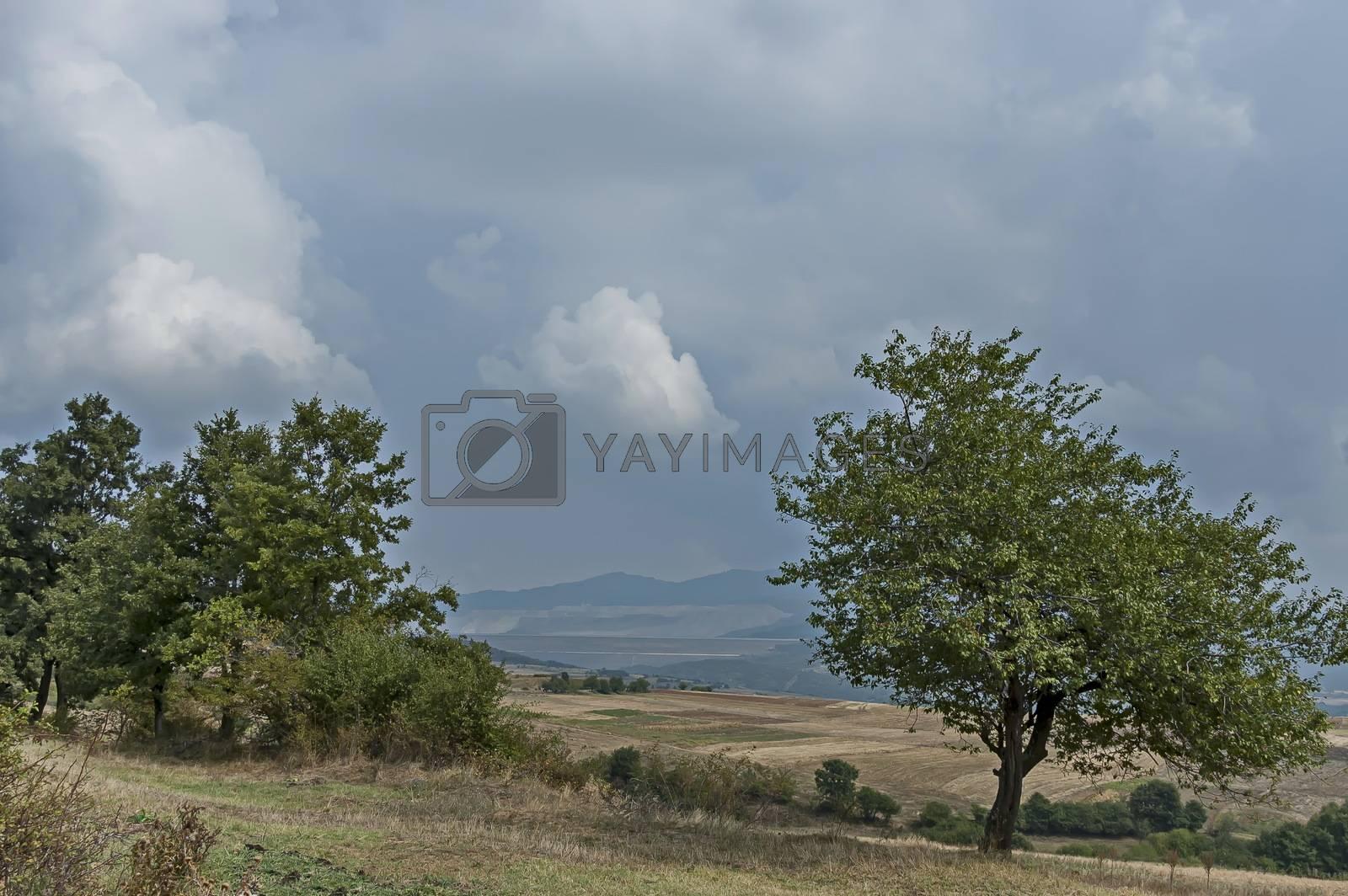 Amazing autumn view of glade, peak and deciduous trees  in Sredna gora mountain, Bulgaria