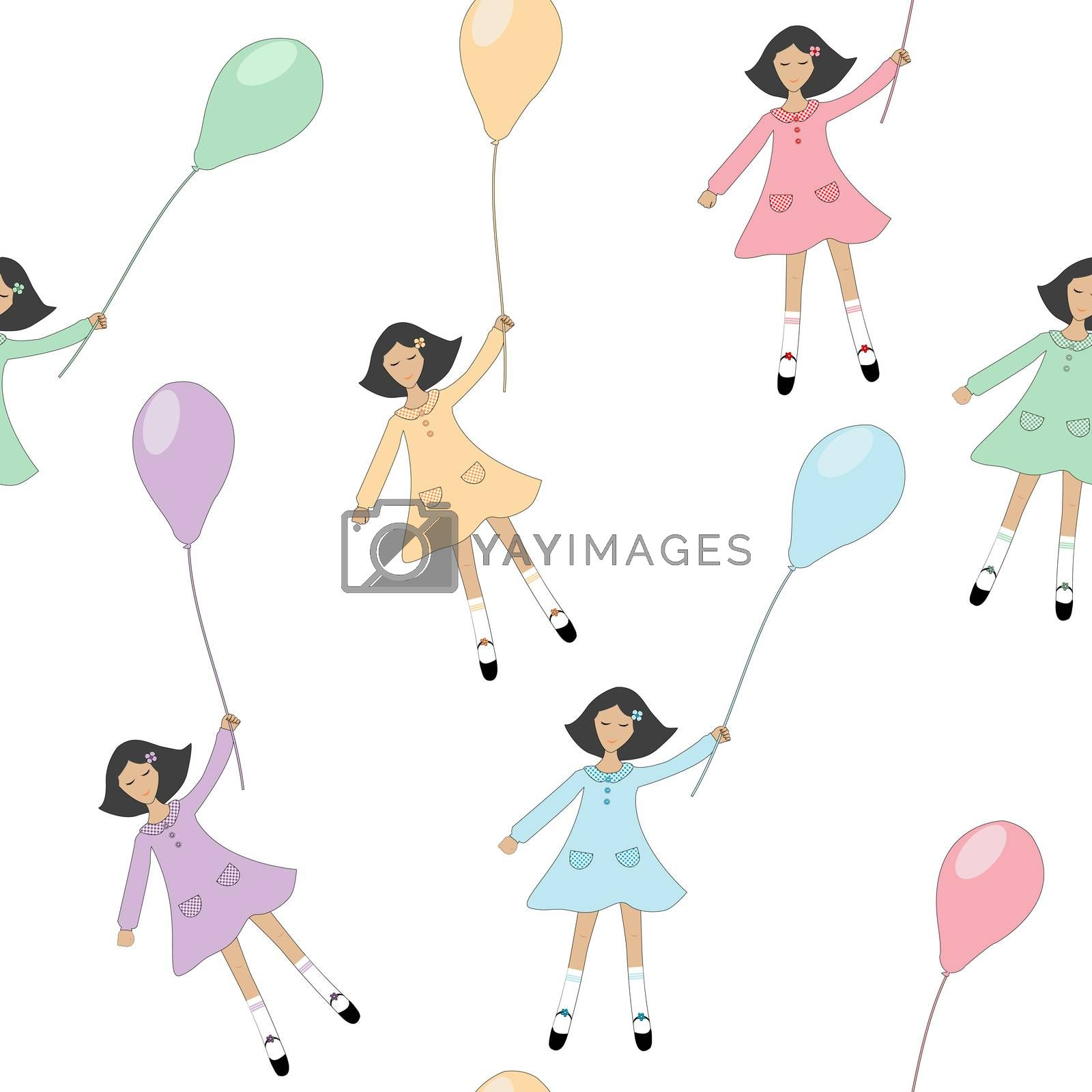 Girls flying with balloons seamless background