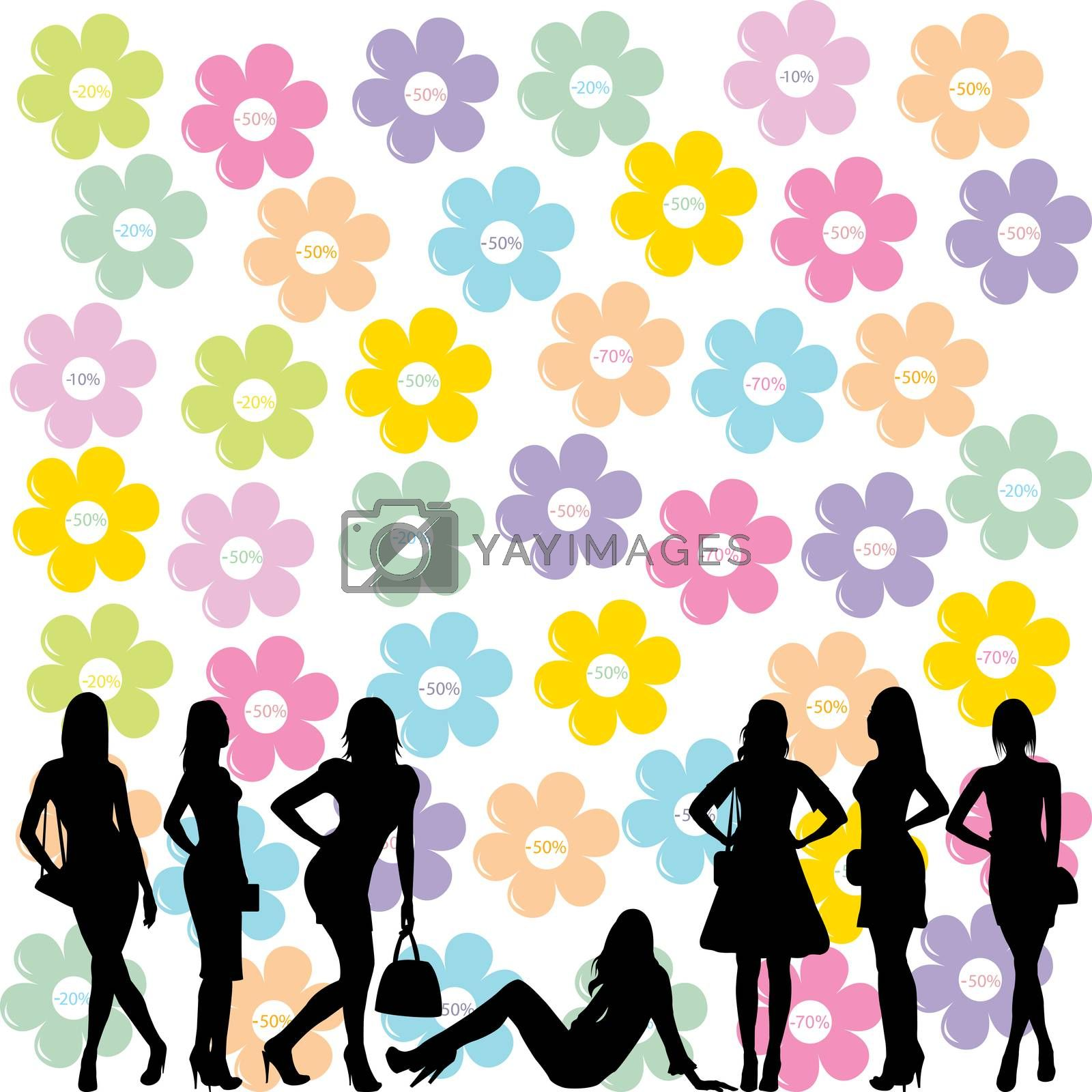Sale concept with fashion women black silhouettes and flowers