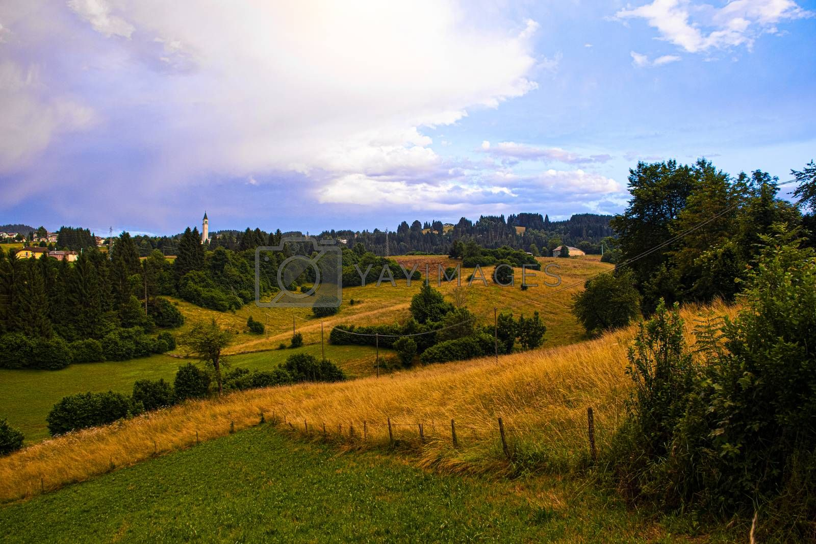 typical Asiago landscape in a cloudy summer day