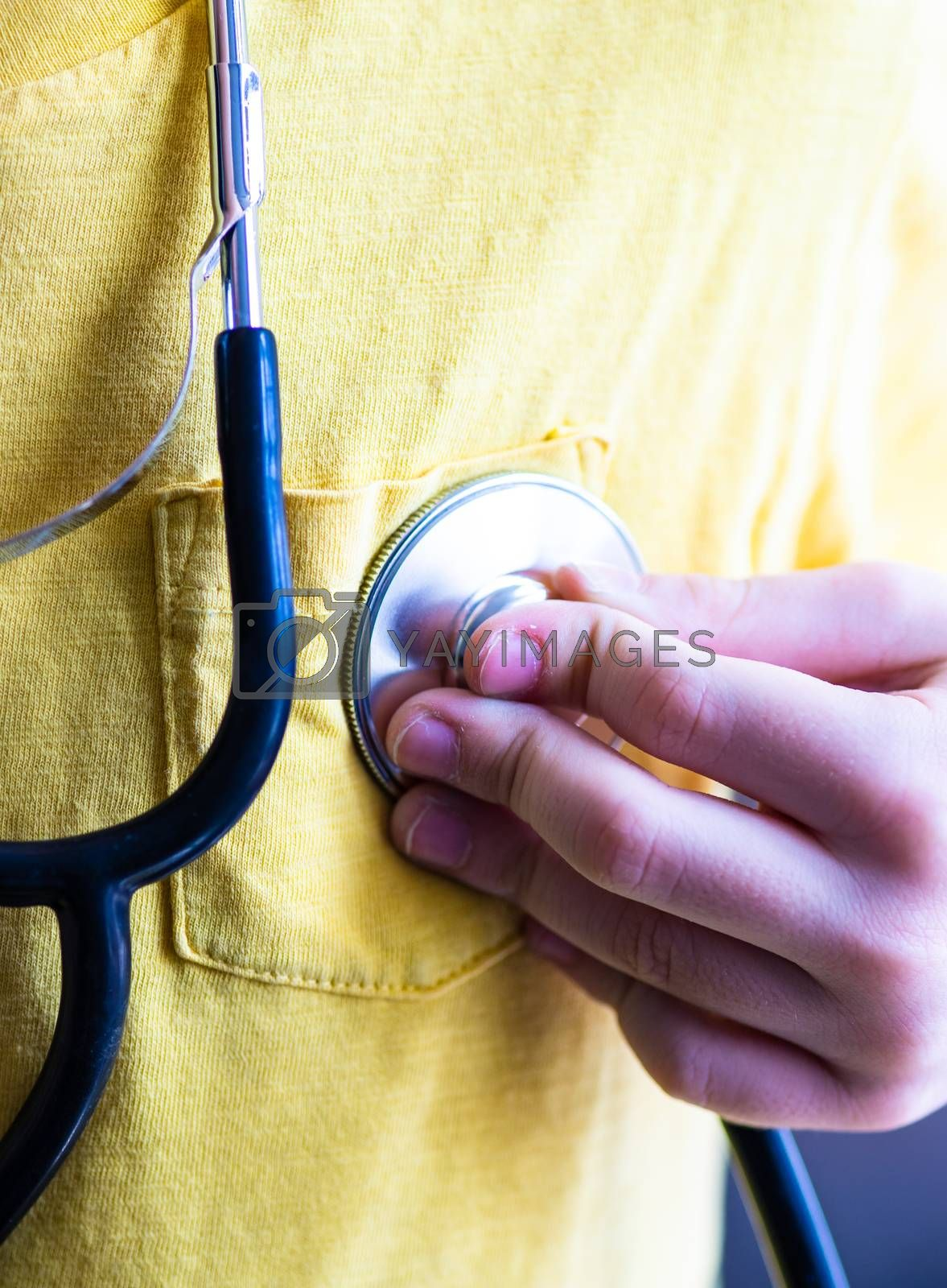 Coronavirus or Covid-19 epidemic healthcare concept with stethoscope on stone background with copy space