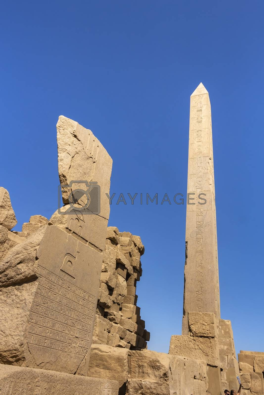The obelisk of Thutmose I between the 3rd and 4th Pylon inside Karnak Temple Complex