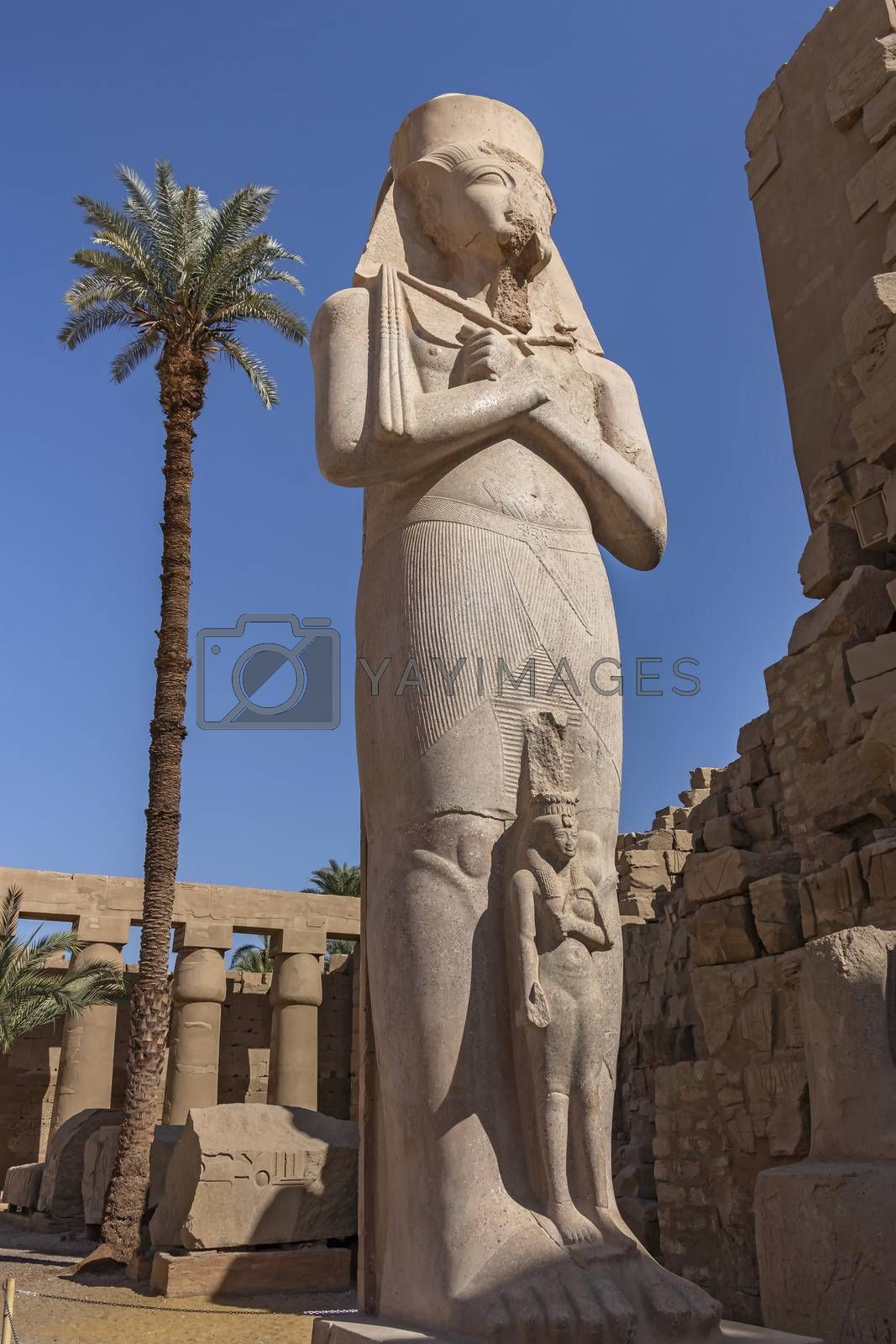 Colossal statue of Ramesses II stands isolated inside Karnak Temple Complex