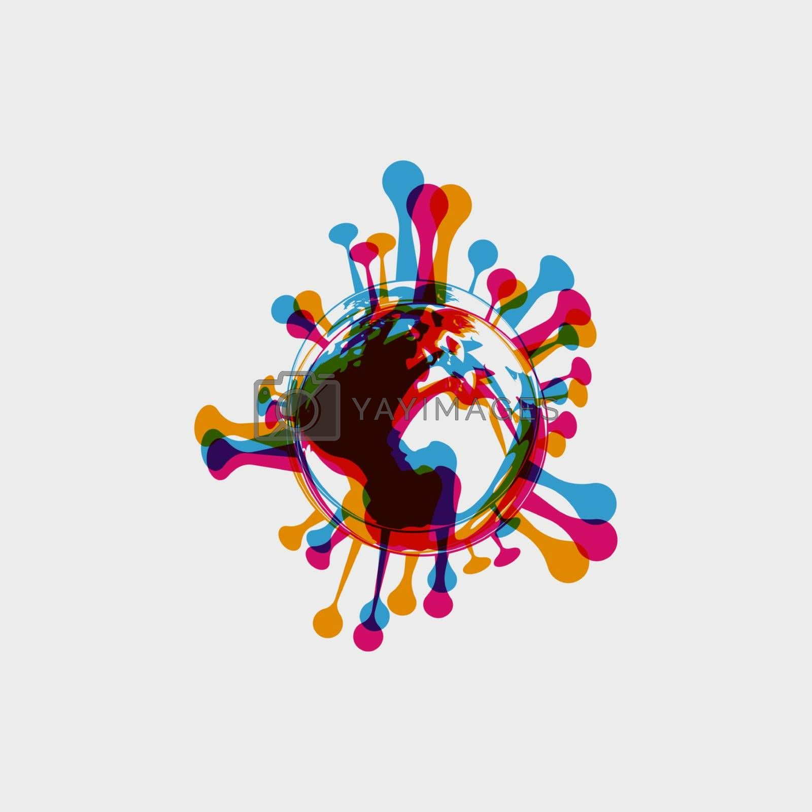 stereo effect of a bacterium virus in the shape of a globe. Earth in the form of bacteria Coronavirus COVID-19 . Virus bacteria Virus Covid 19-NCP by Musjaka