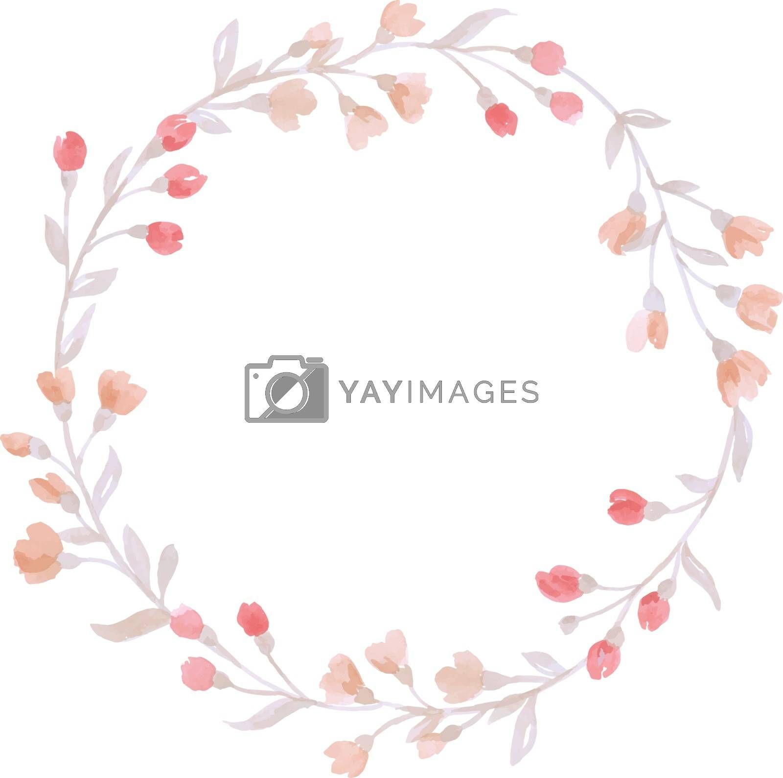 The isolated vector hand painted pastel watercolor wreath flower wedding decoration