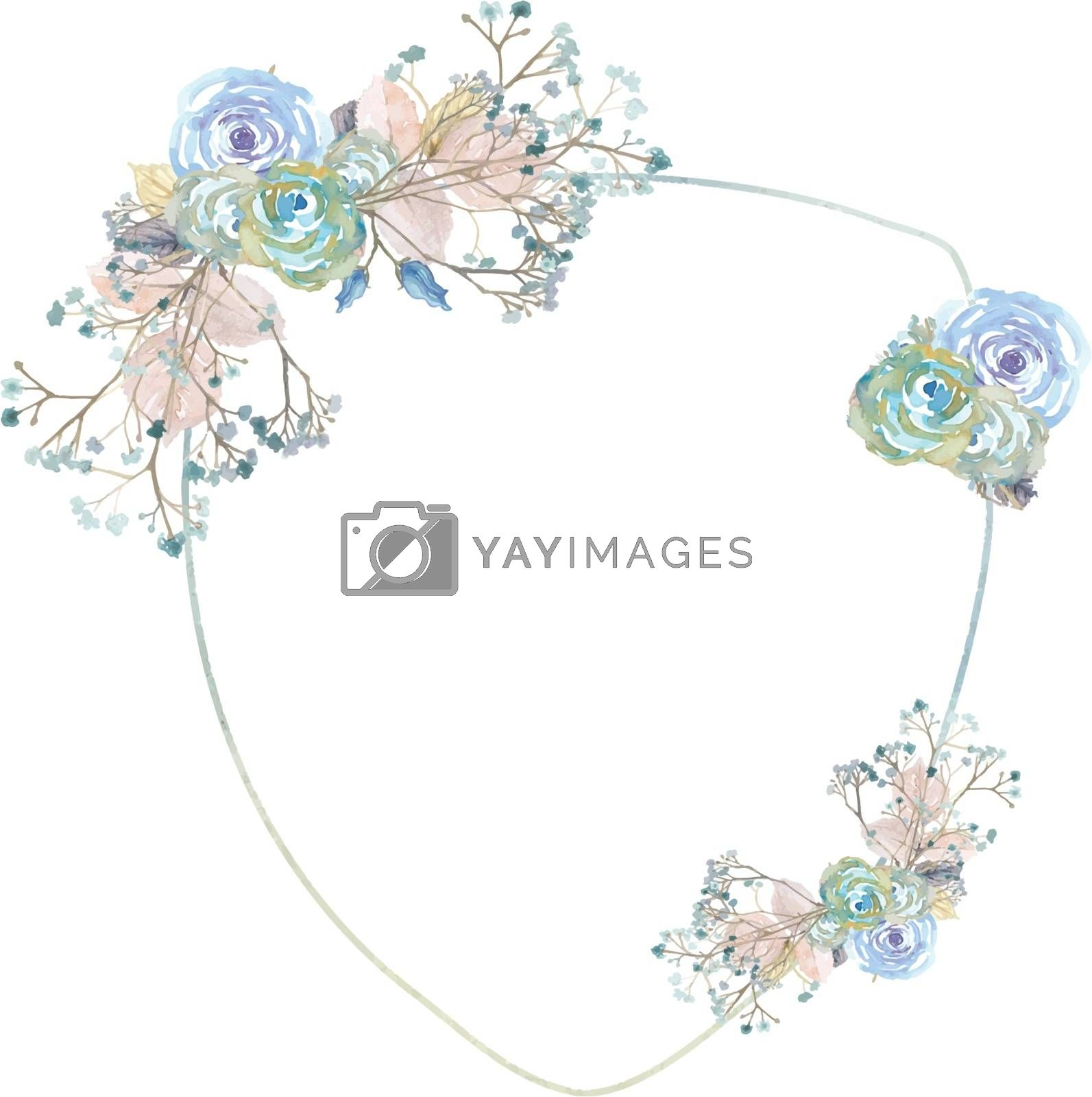 The vector watercolor wedding decoration flower and plant border shield style