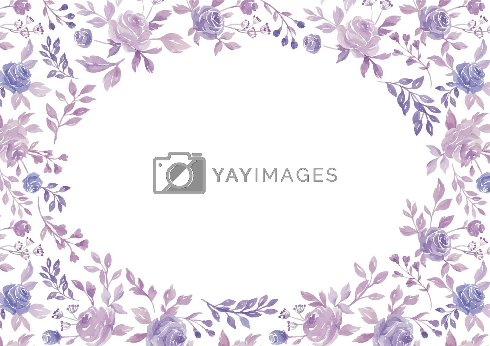 The vector watercolor purple flower and plant border white paper background