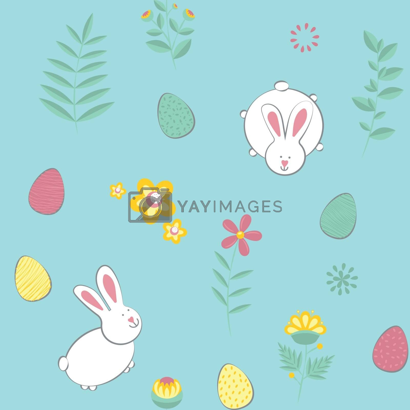 Easter pattern. Vector seamless texture with eggs, rabbits, flowers. Childish seamless pattern in cartoon style. Seamless pattern can be used for wallpapers, pattern fills, web page backgrounds, surface textures
