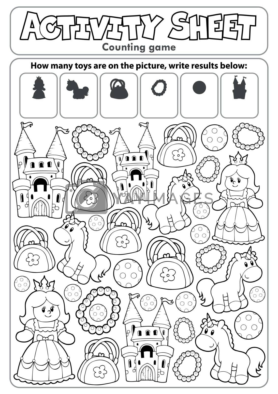 Activity sheet counting game 8 - eps10 vector illustration.