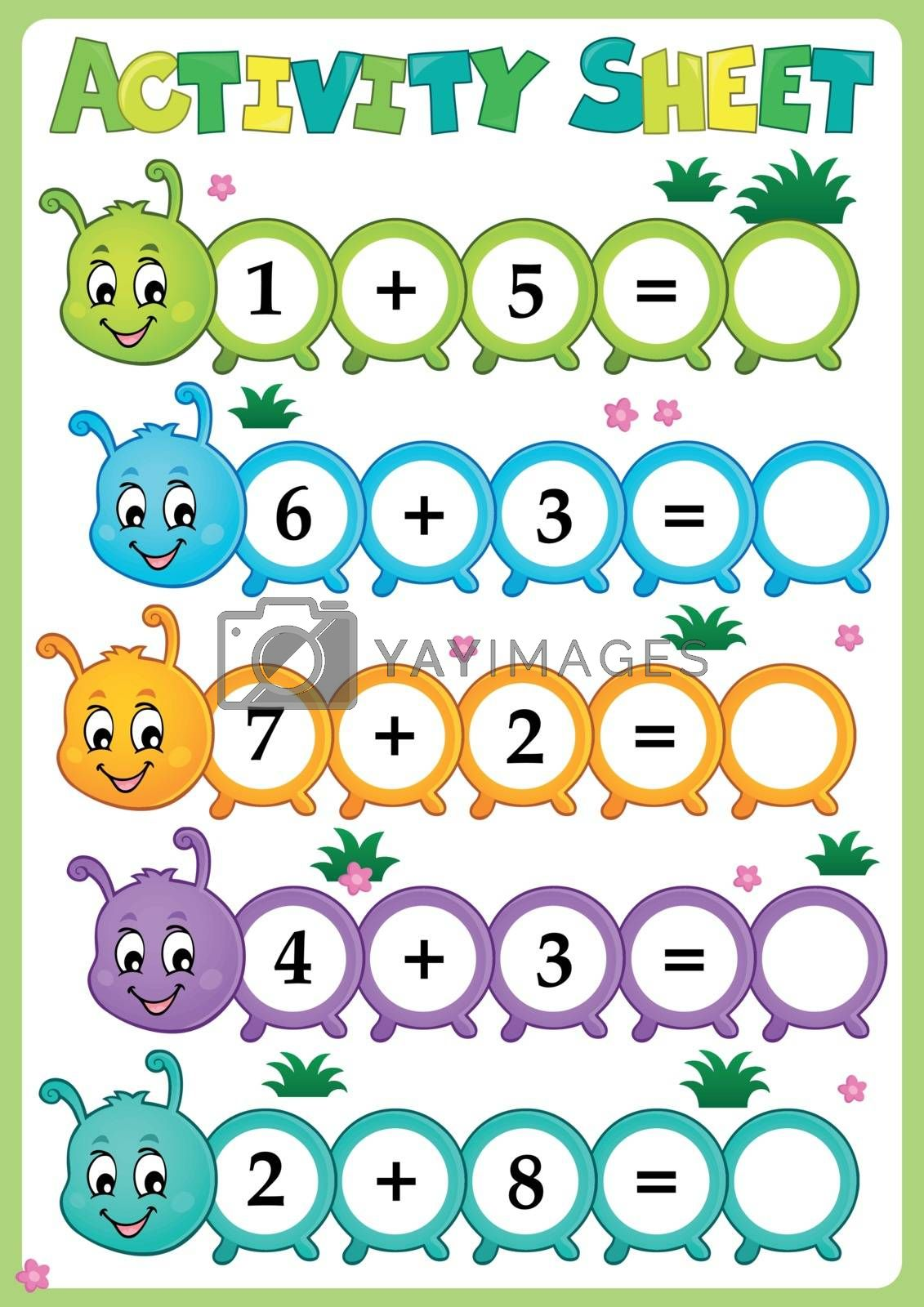 Activity sheet math theme 1 - eps10 vector illustration.