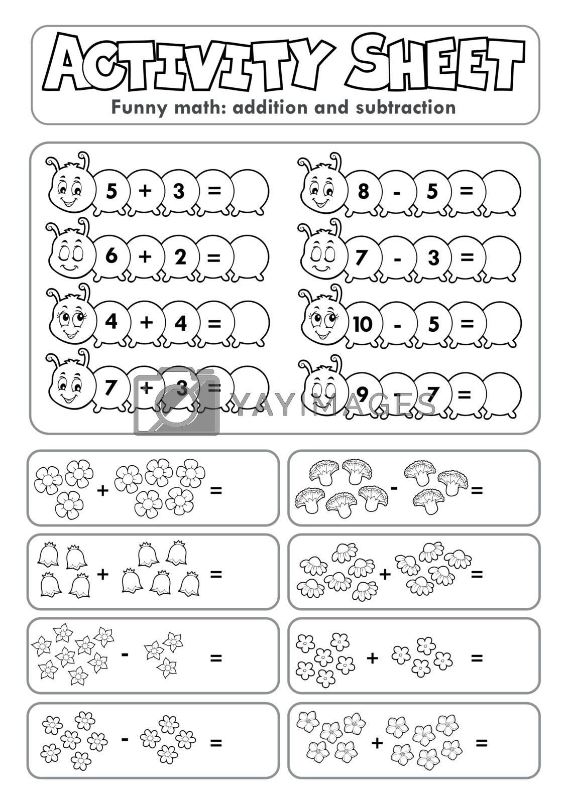 Activity sheet math theme 5 - eps10 vector illustration.