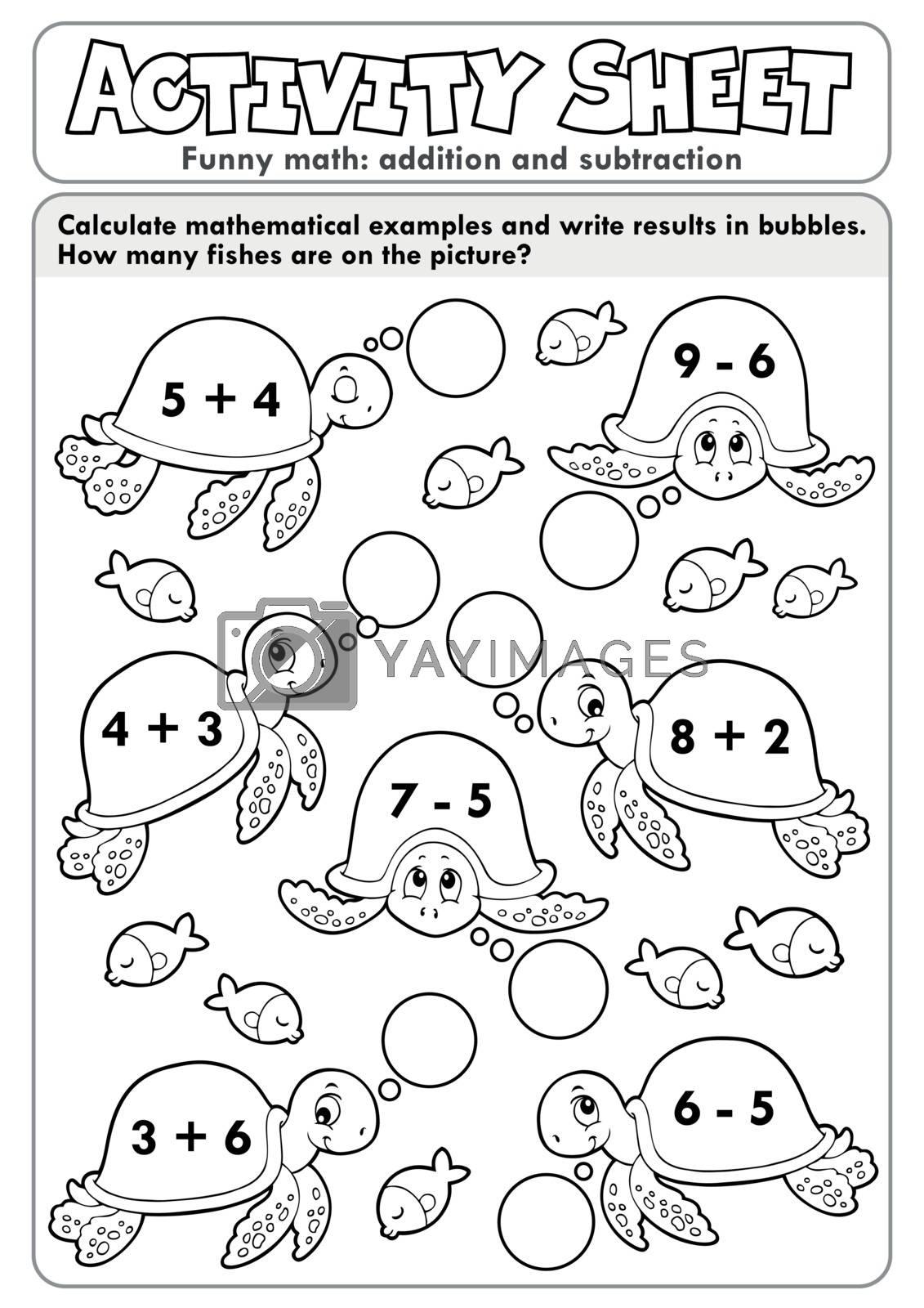 Activity sheet math theme 7 - eps10 vector illustration.