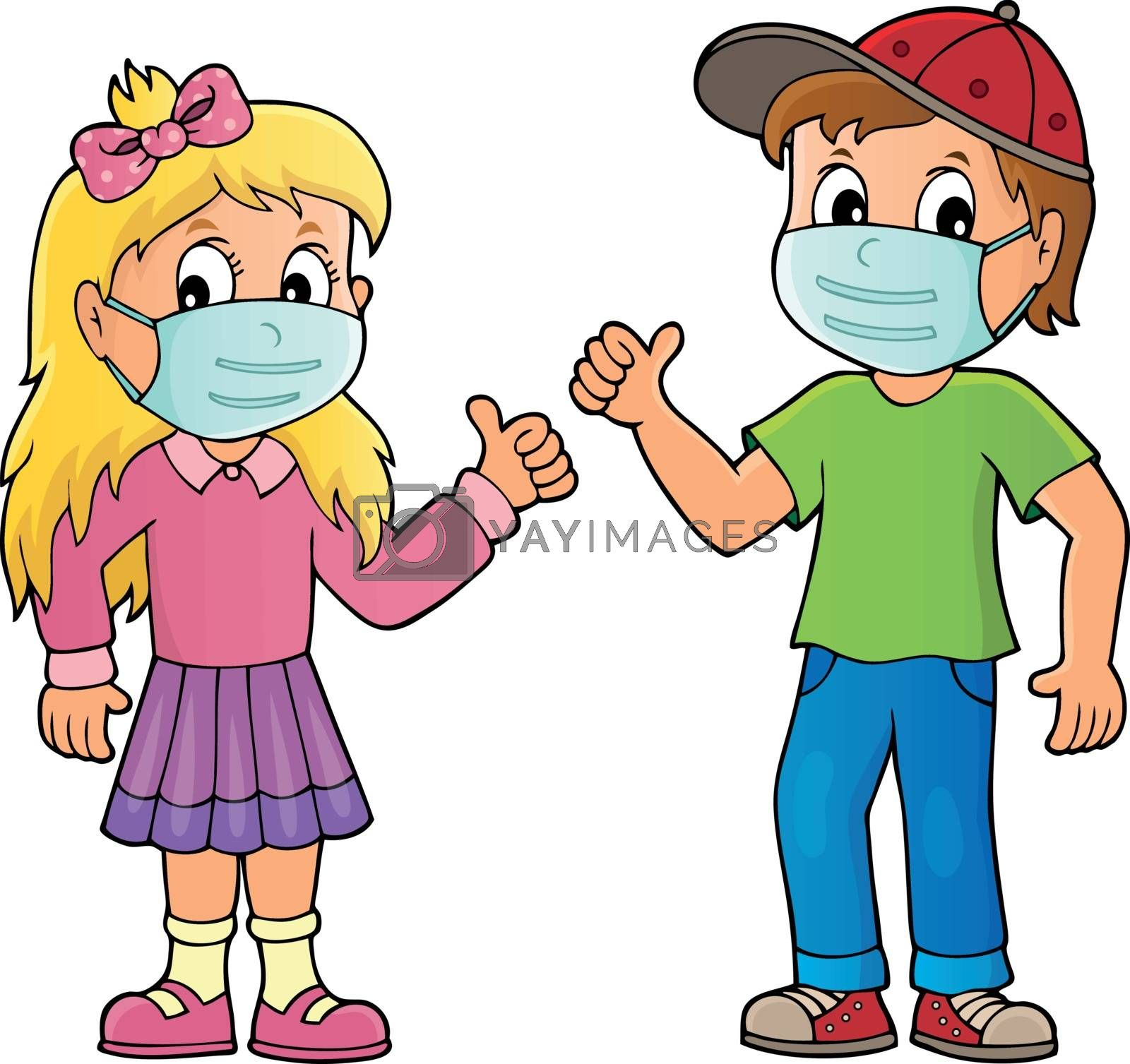 Children in medical masks theme image 1 - eps10 vector illustration.