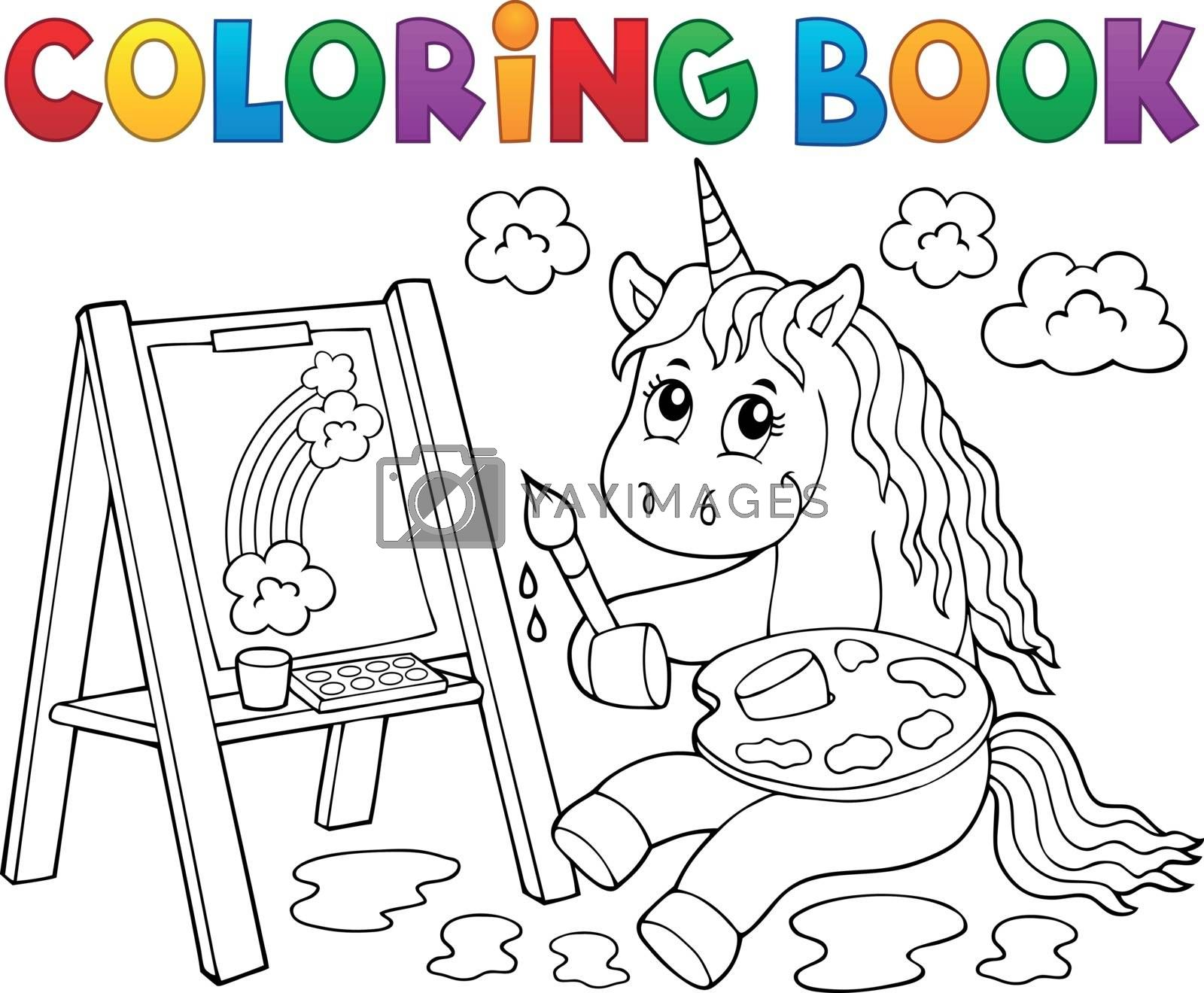 Coloring book painting unicorn theme 2 - eps10 vector illustration.