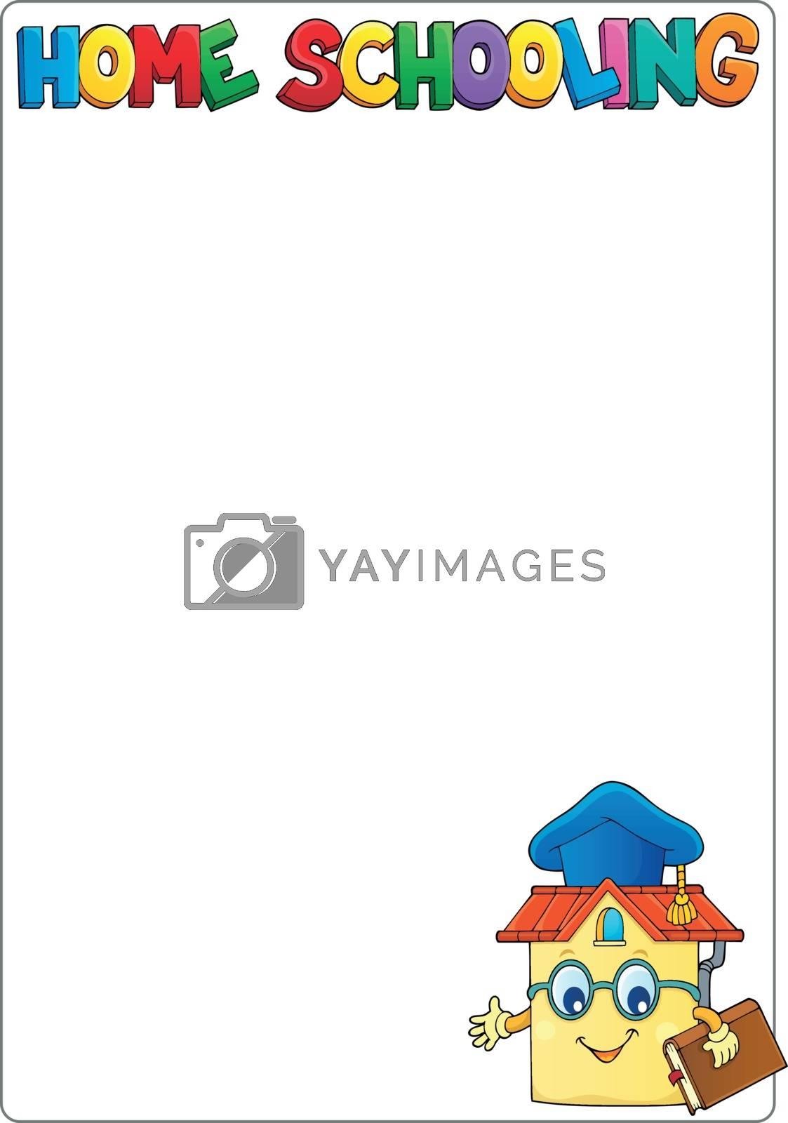 Home schooling theme frame 1 - eps10 vector illustration.