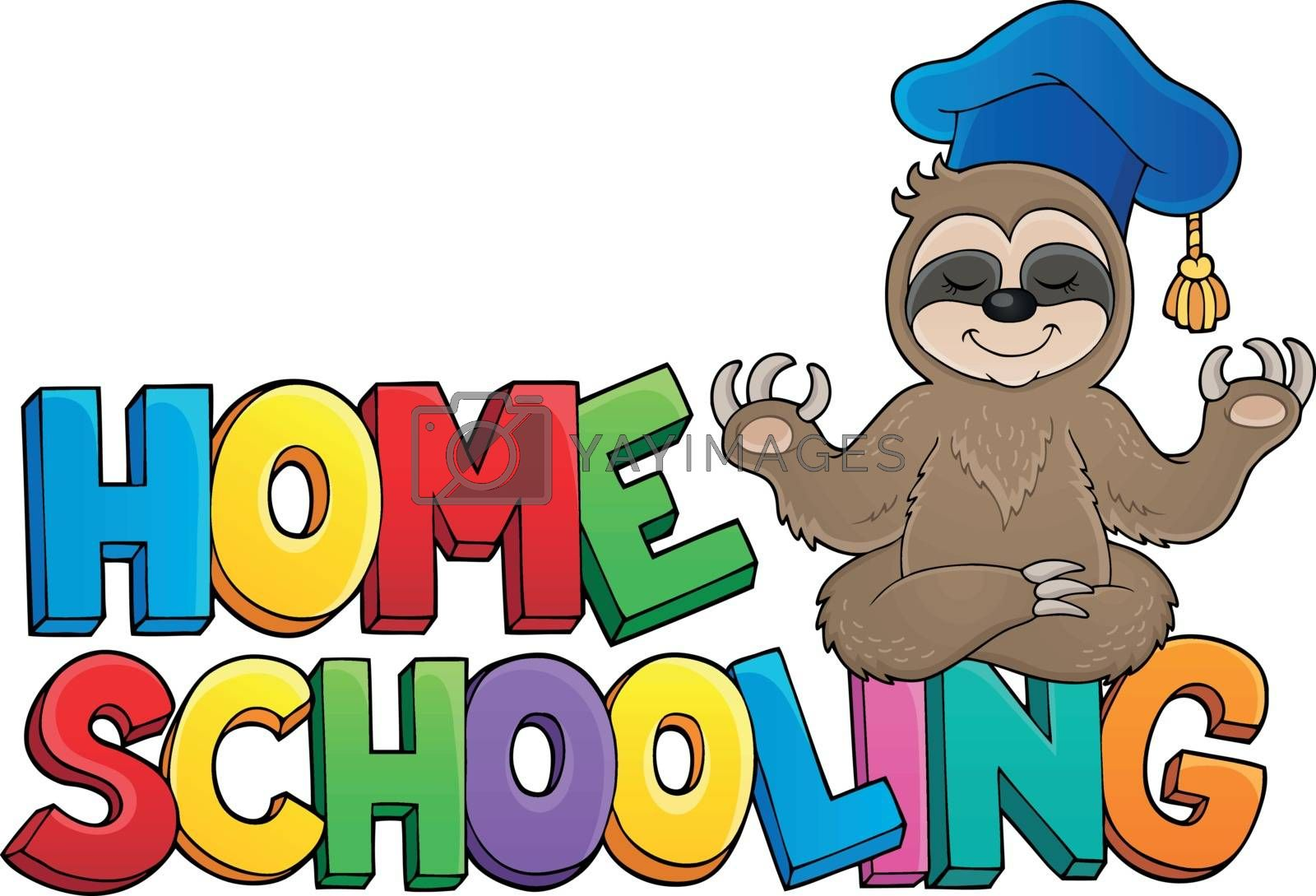Home schooling theme sign 4 - eps10 vector illustration.