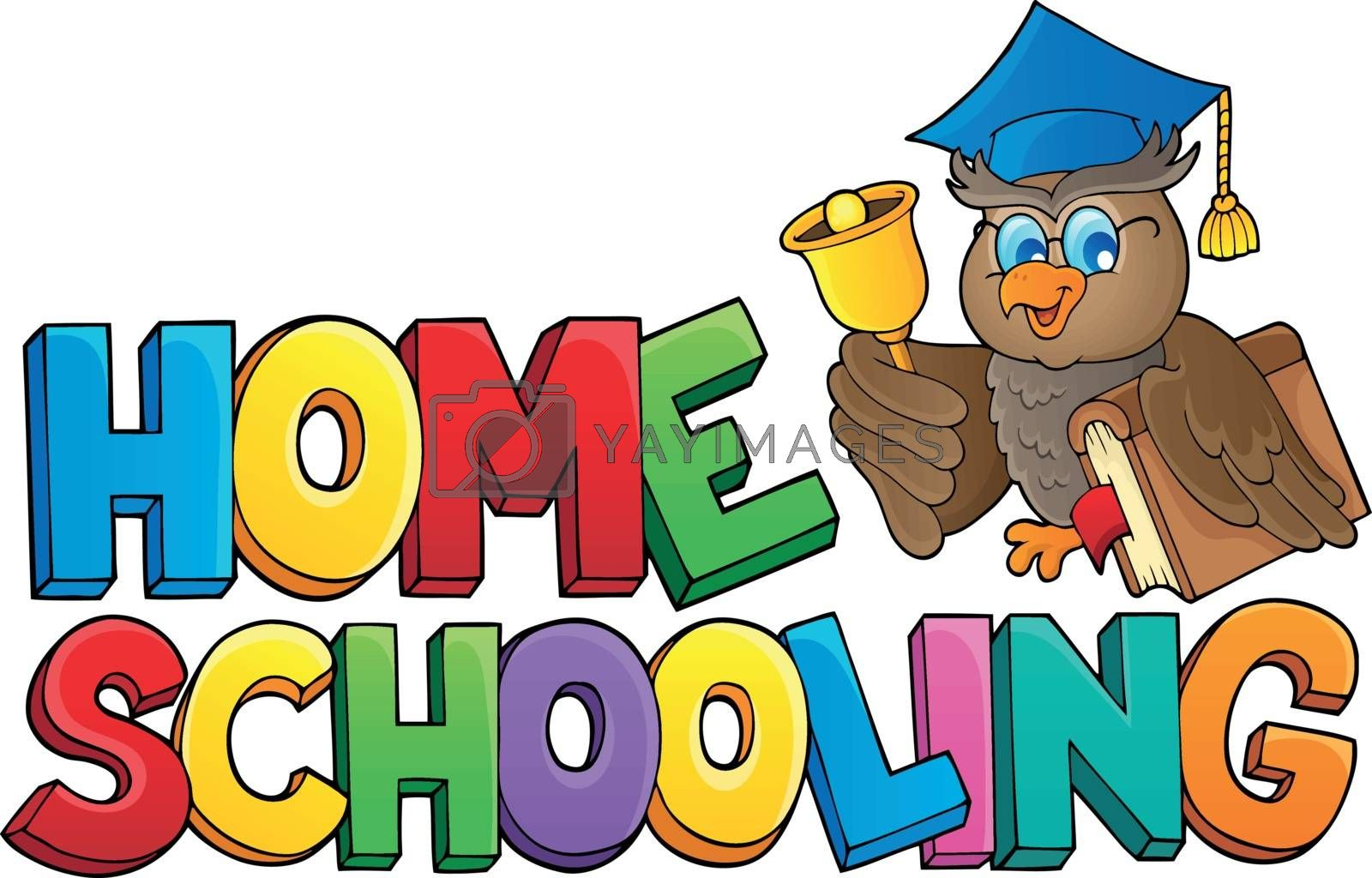 Home schooling theme sign 2 - eps10 vector illustration.