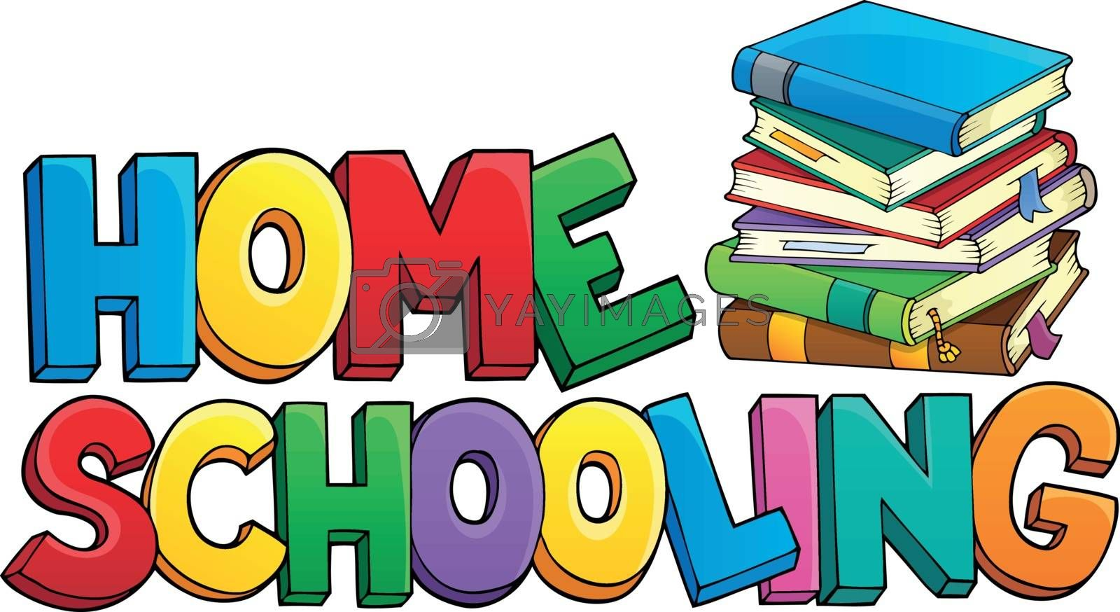 Home schooling theme sign 1 - eps10 vector illustration.