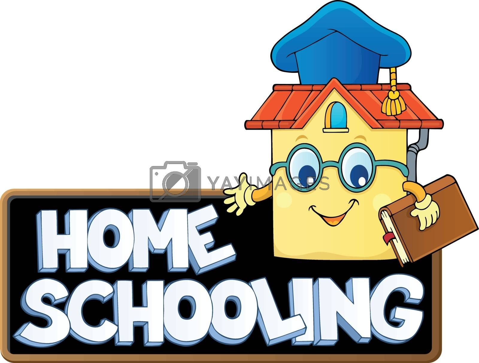 Home schooling theme sign 7 - eps10 vector illustration.