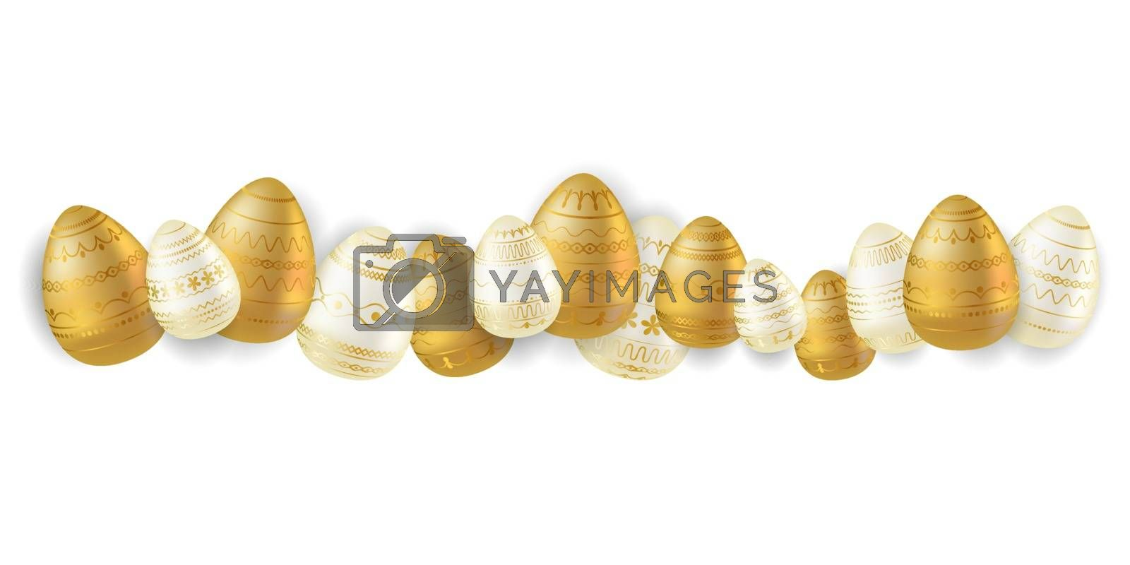 Easter egg. Border with realistic eggs with golden ornament. Easter collection. Vector illustration for banner