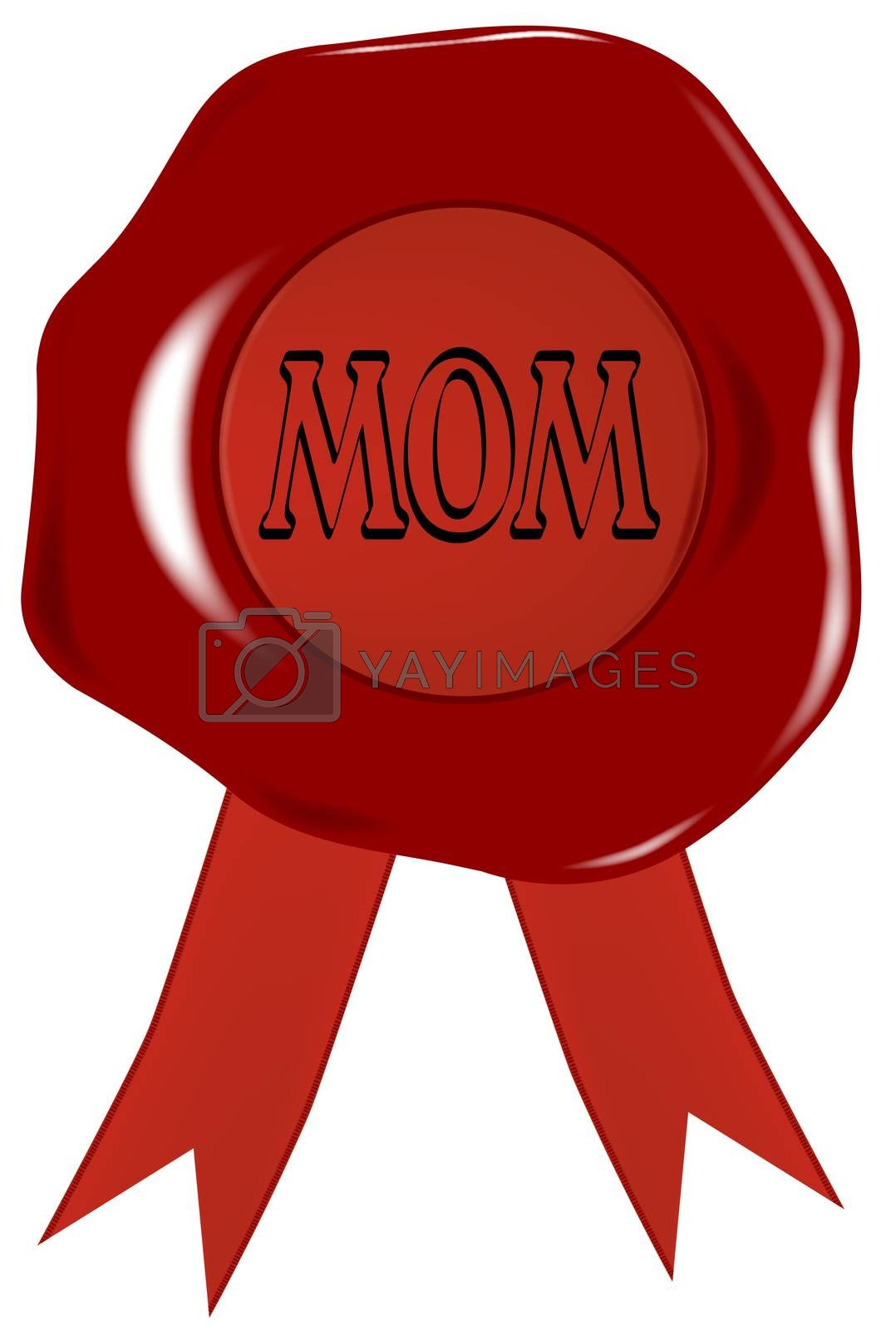 A wax stamp with the word 'MON' isolated over a white background.
