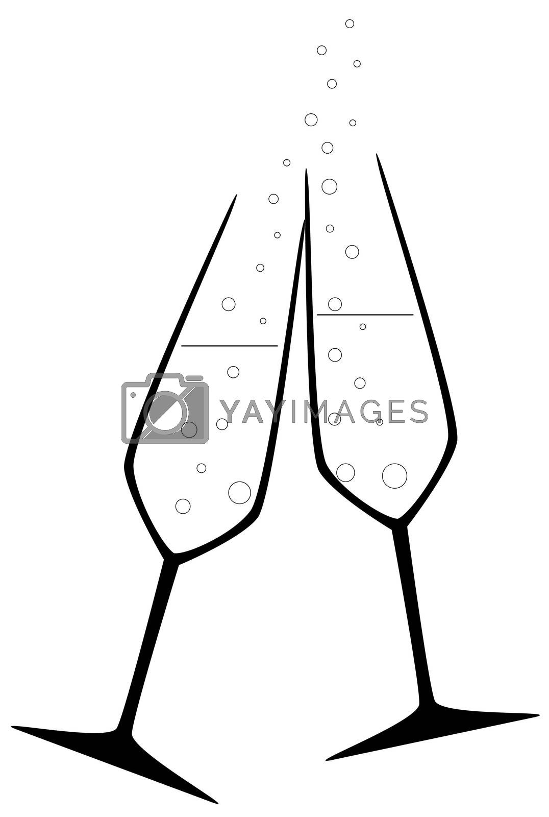 Two charged champagne glass with bubbles isolated on white.