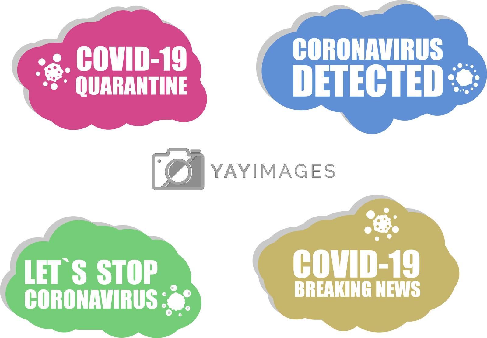 Coronavirus icon. COVID-19 icon. Coronavirus detected. Covid 19 quarantine. Stop Virus COVID 19. Sign set isolated on white background