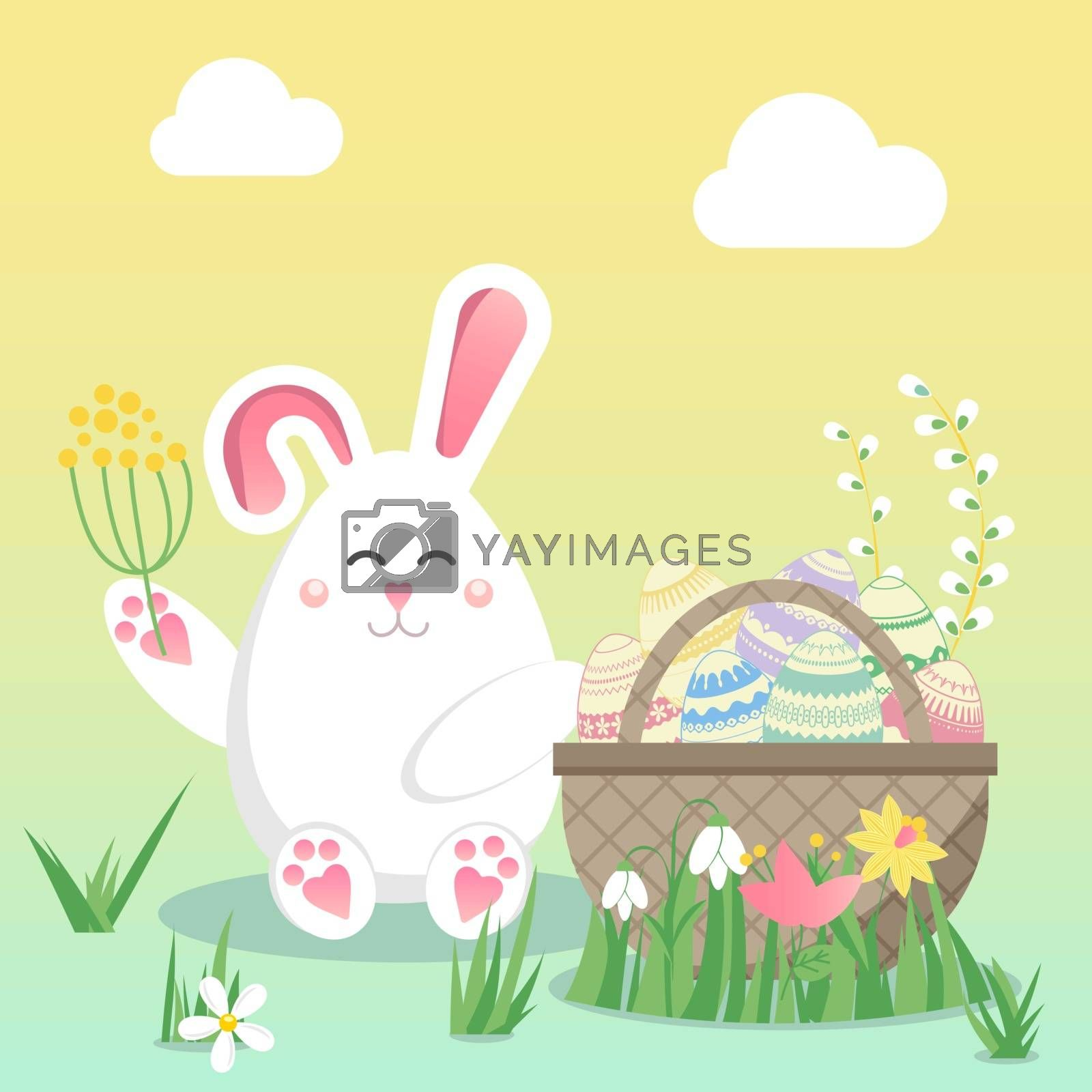 Easter vector illustration with egg, bunny (rabbit) and flower. Spring religious holiday. Vector illustrations for a poster, greeting card, invitation or banner. Childish seamless Colorful pattern in cartoon style. Happy Easter!