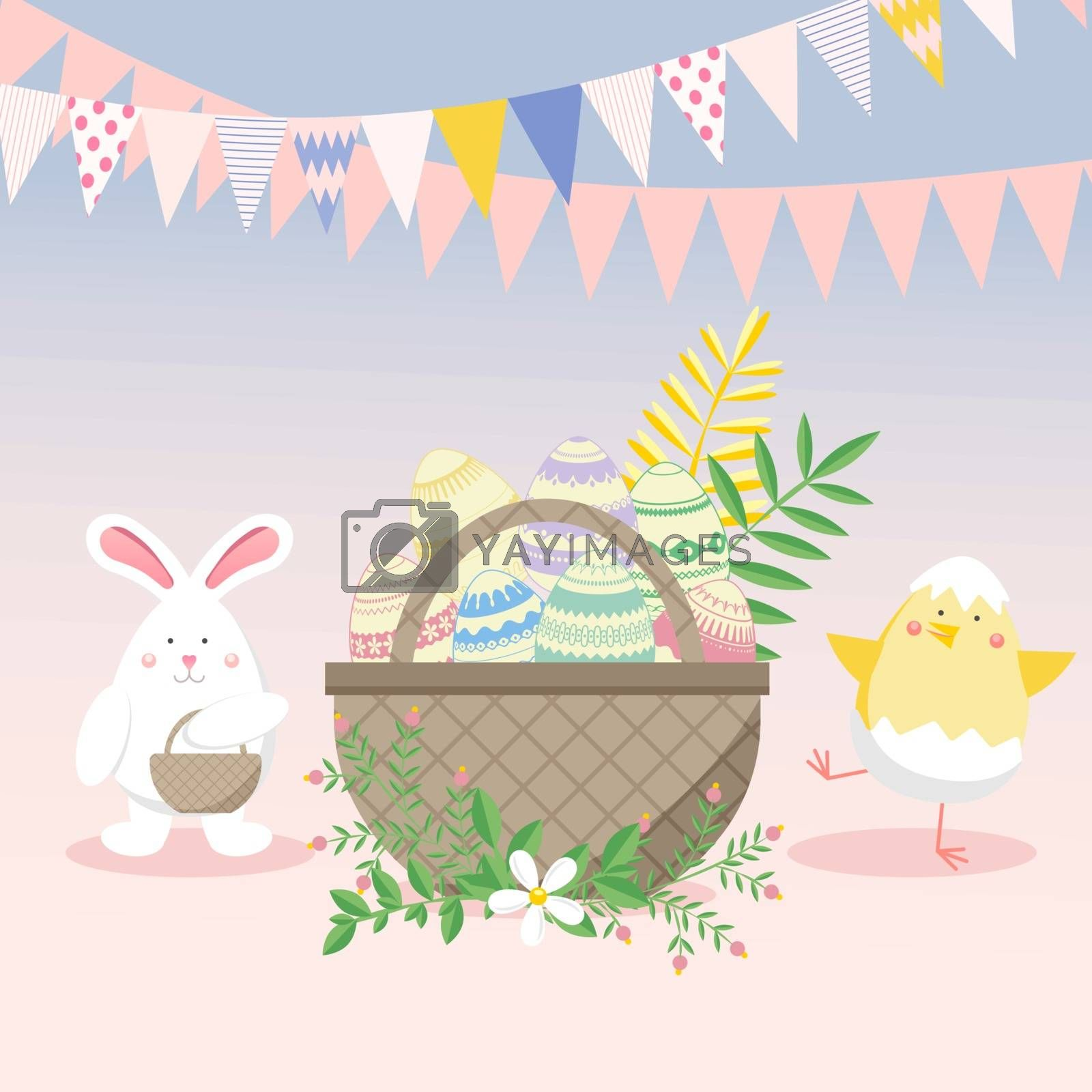 Easter vector illustration with egg, chicken, bunny (rabbit) and flower. Spring religious holiday. Vector illustrations for a poster, greeting card, invitation or banner. Childish seamless Colorful pattern in cartoon style. Happy Easter!