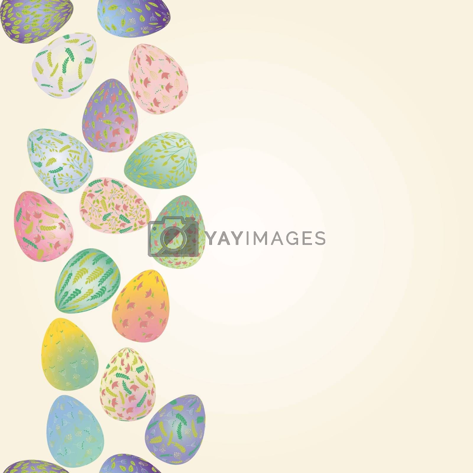 Pattern Soft pastel color Easter eggs with plant ornaments. Seamless border vector illustration. Religious holiday background decoration. Plant, floral ornament in the shape of an egg with plant ornaments on light background.
