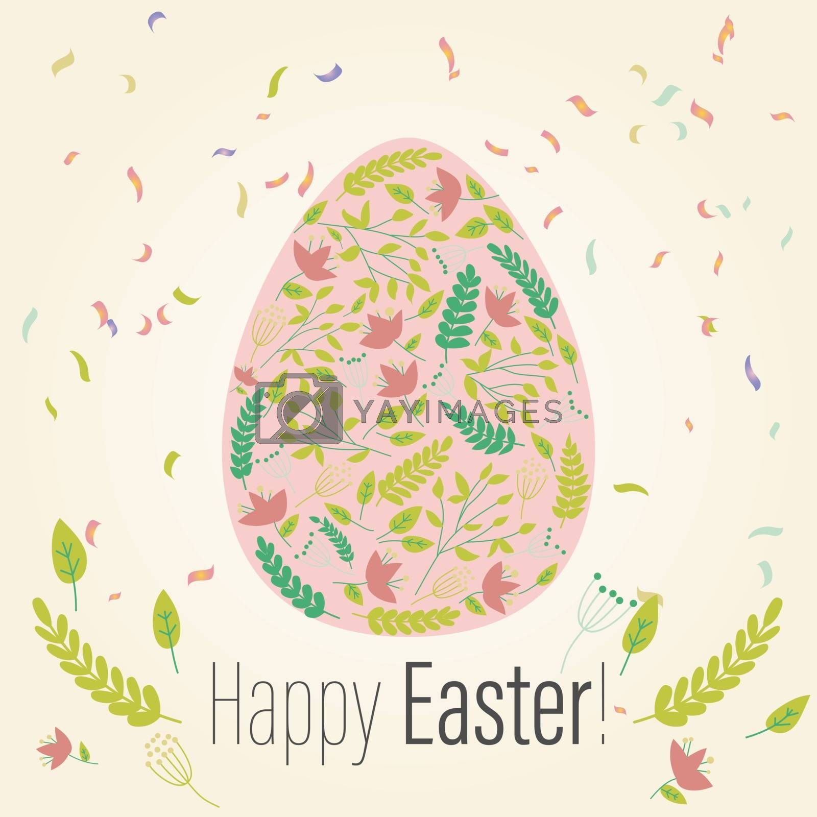 Easter greeting card in the egg shape with flowers. Religious holiday vector illustration for poster, flyer. Decorating eggs with flowers. Happy Easter