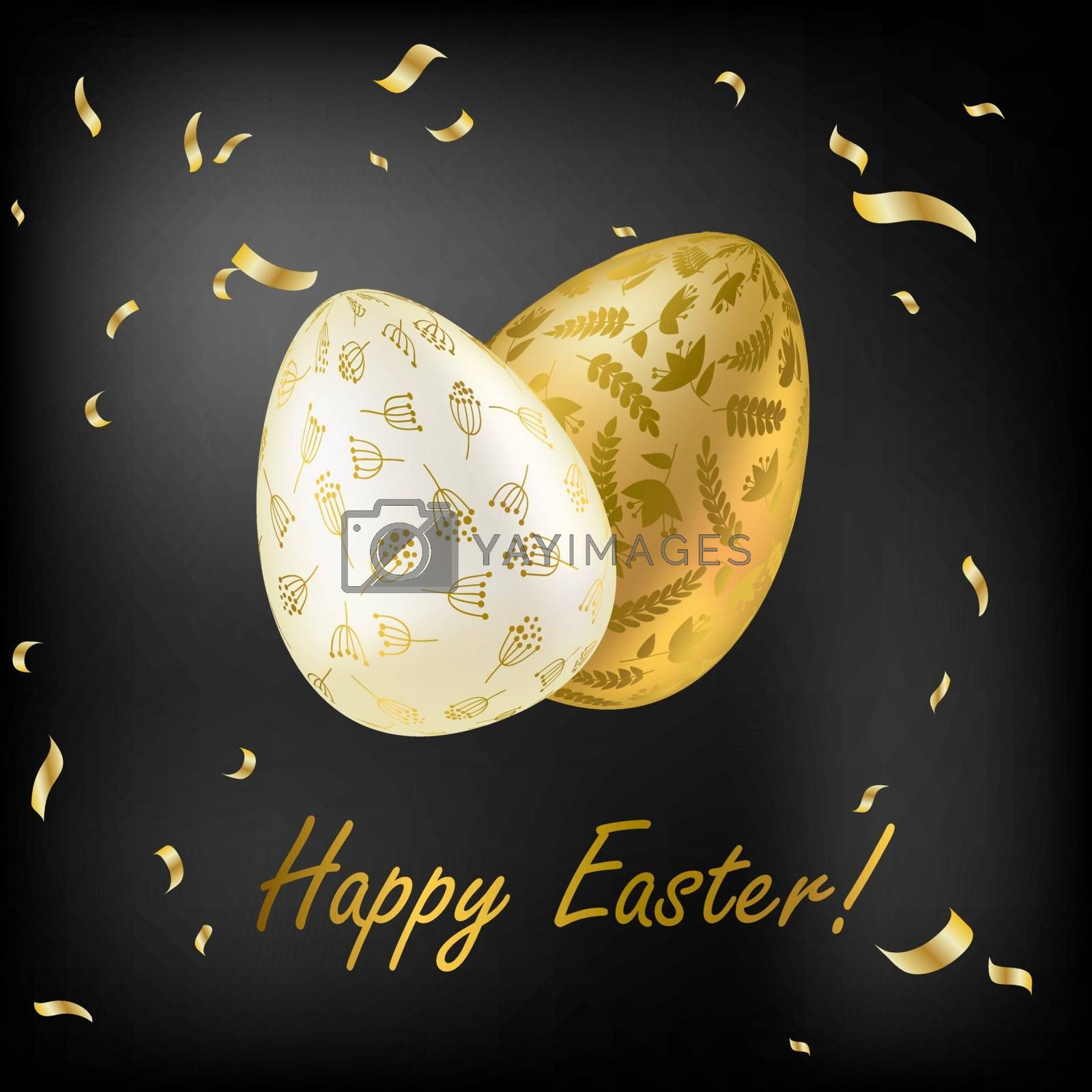 Easter egg. Greeting card with Golden eggs. Religious holiday vector illustration for poster, flyer. Decorate Golden eggs with plant ornaments on a dark background. Happy Easter