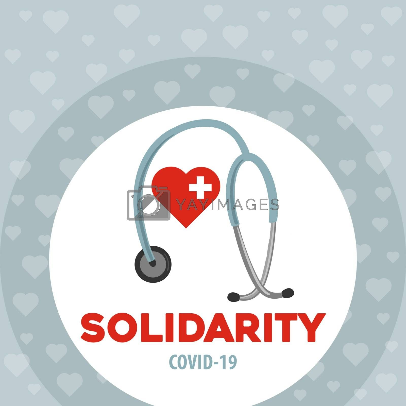 Solidarity with doctors. Coronavirus poster. Covid-19 solidarity by balasoiu