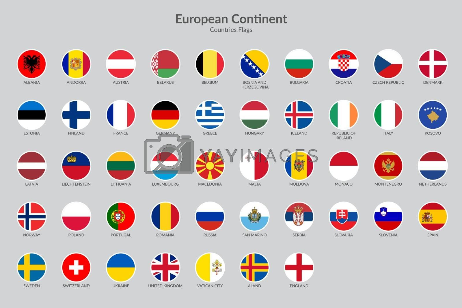 European countries flag icons collection