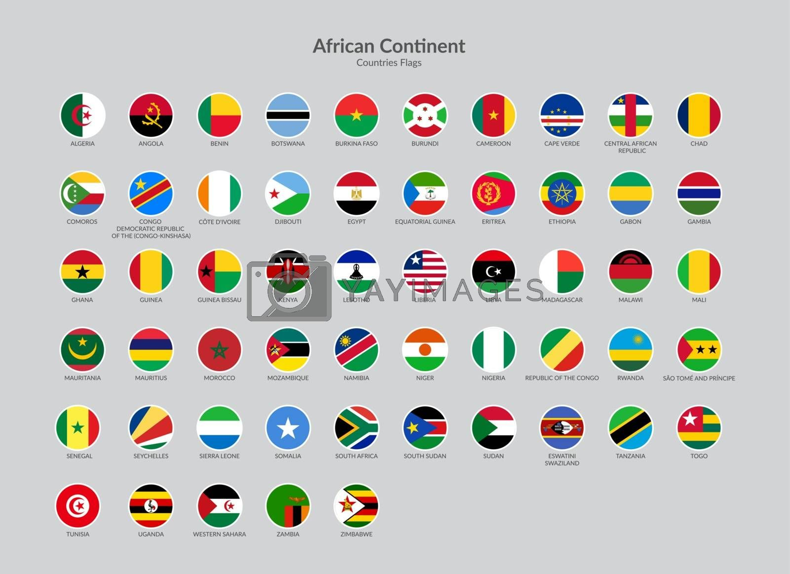 African Continent countries flag icons collection