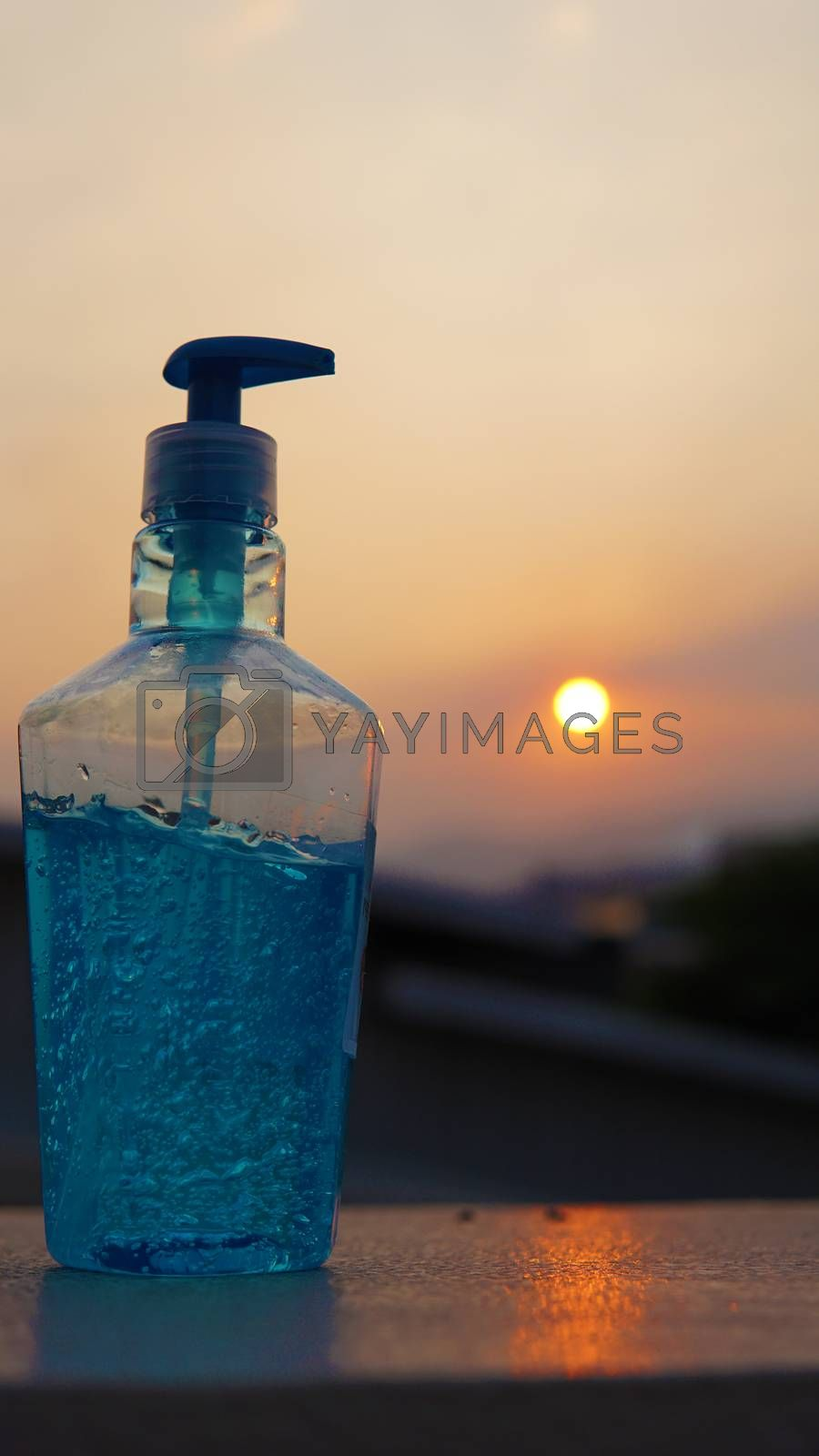 Dispenser bottles of alcohol based gel hand sanitizers to keep hands from germs and bacteria during the Covid-19 or Coronavirus pandemic.