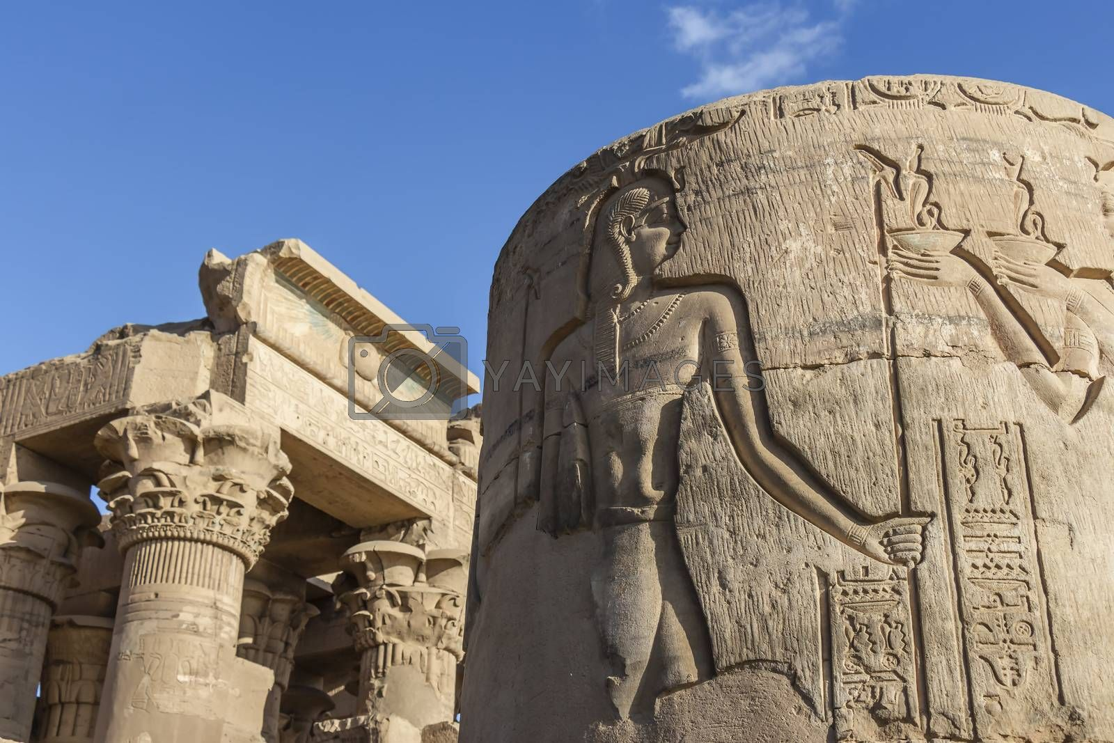 The relief carvings on a lower half column at the entrance of the Temple of Kom Ombo, Aswan