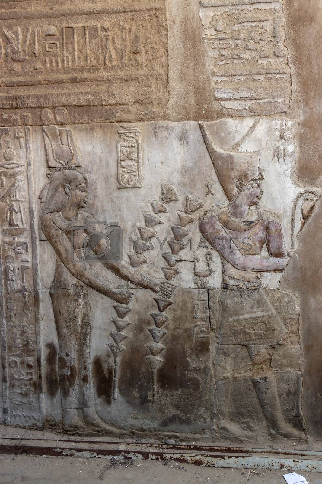 Detailed ancient Egyptian bas relief carvings in the Temple of Kom Ombo, Aswan
