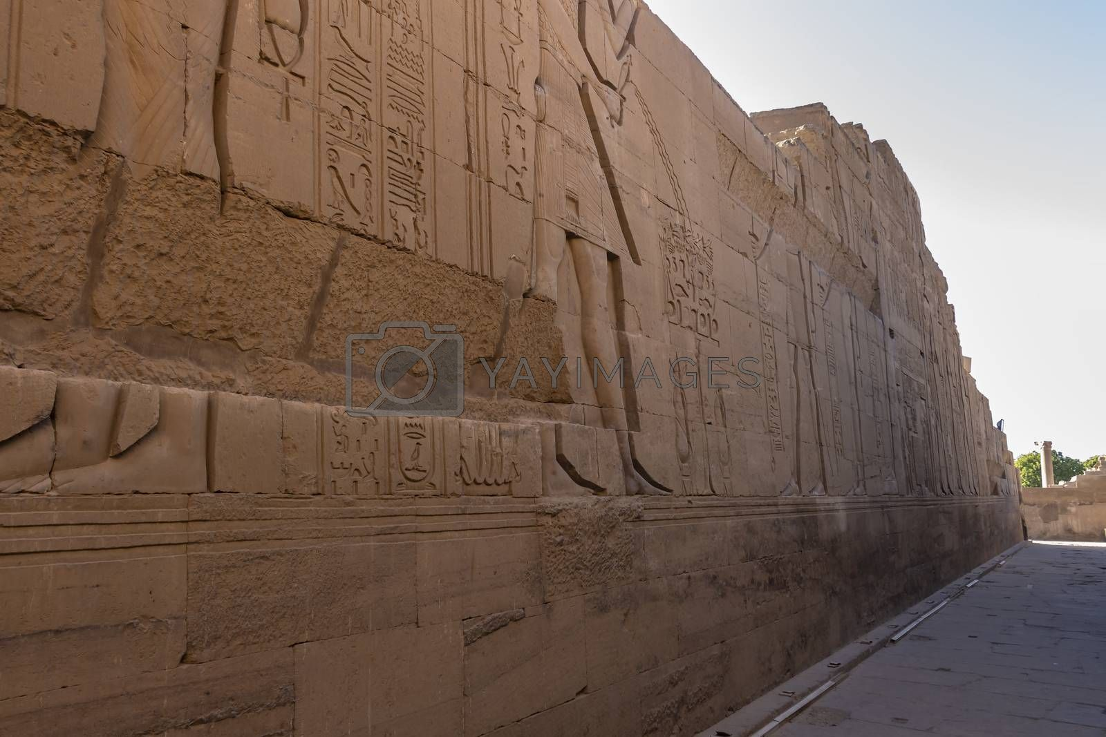 The outer wall surrounding of the Temple of Kom Ombo in Aswan