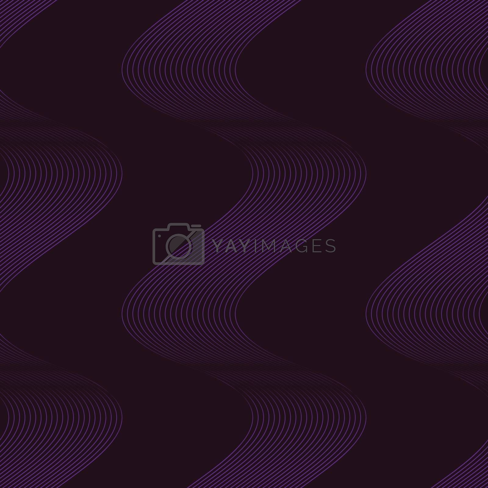 Elegant and simple modern minimalist seamless pattern with dark purple linear waves