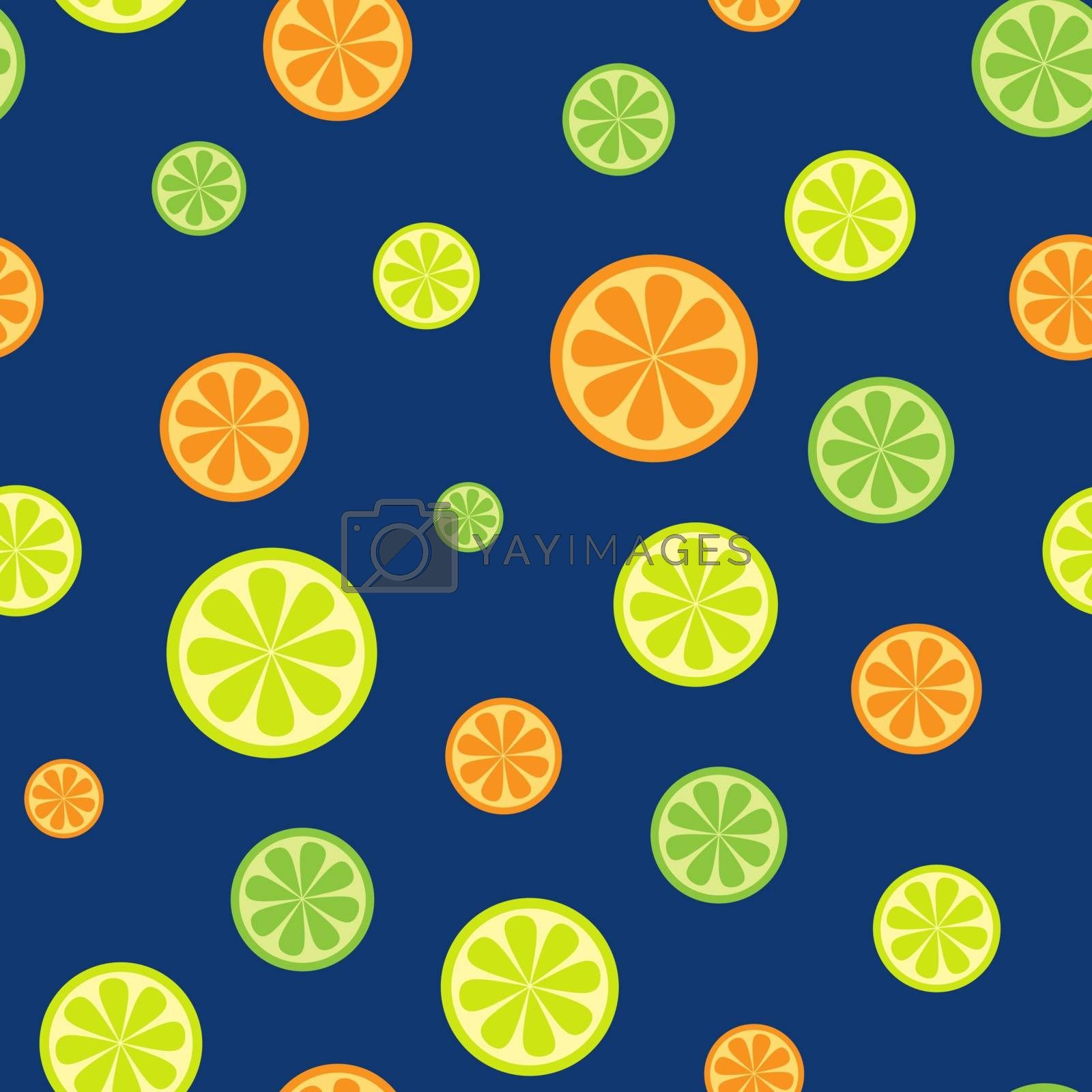 Simple seamless pattern with citrus fruits: oranges, limes and lemons