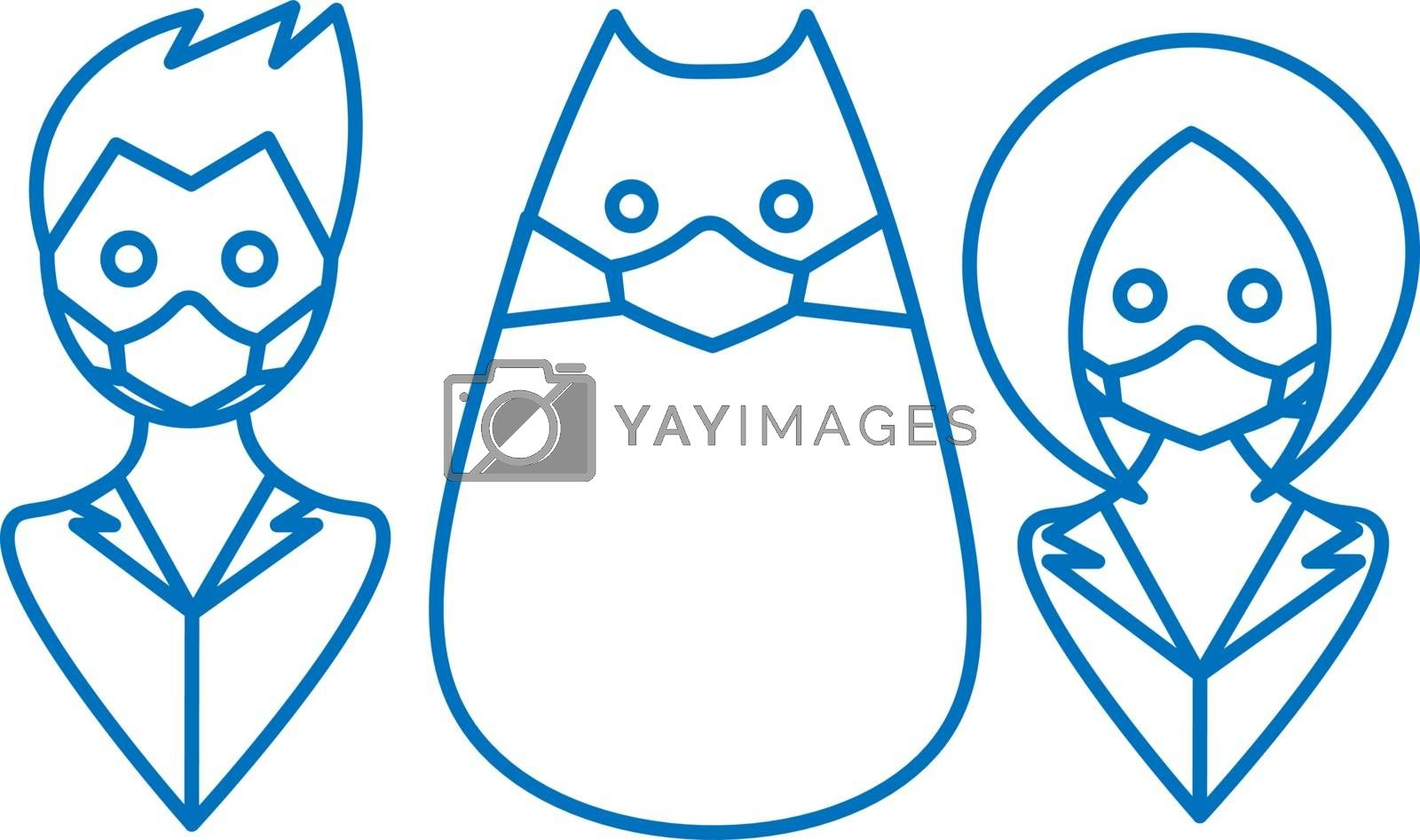 Cute contour illustration of man, woman and cat with medical face mask