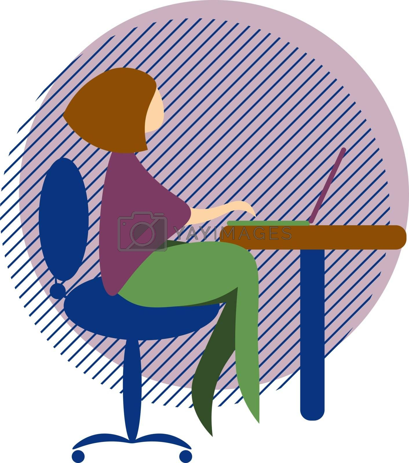 Cute and cozy colorful illustration of woman sitting at the table with laptop