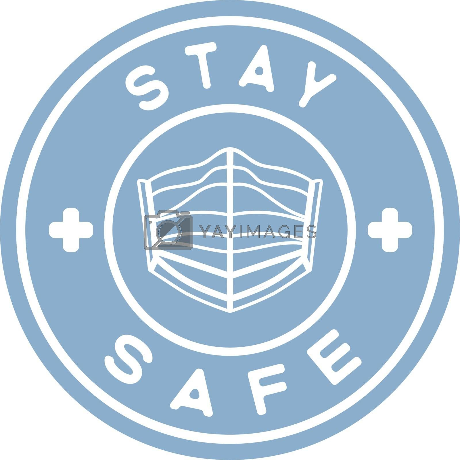 Blue circle with text 'stay safe' and contour medical face mask