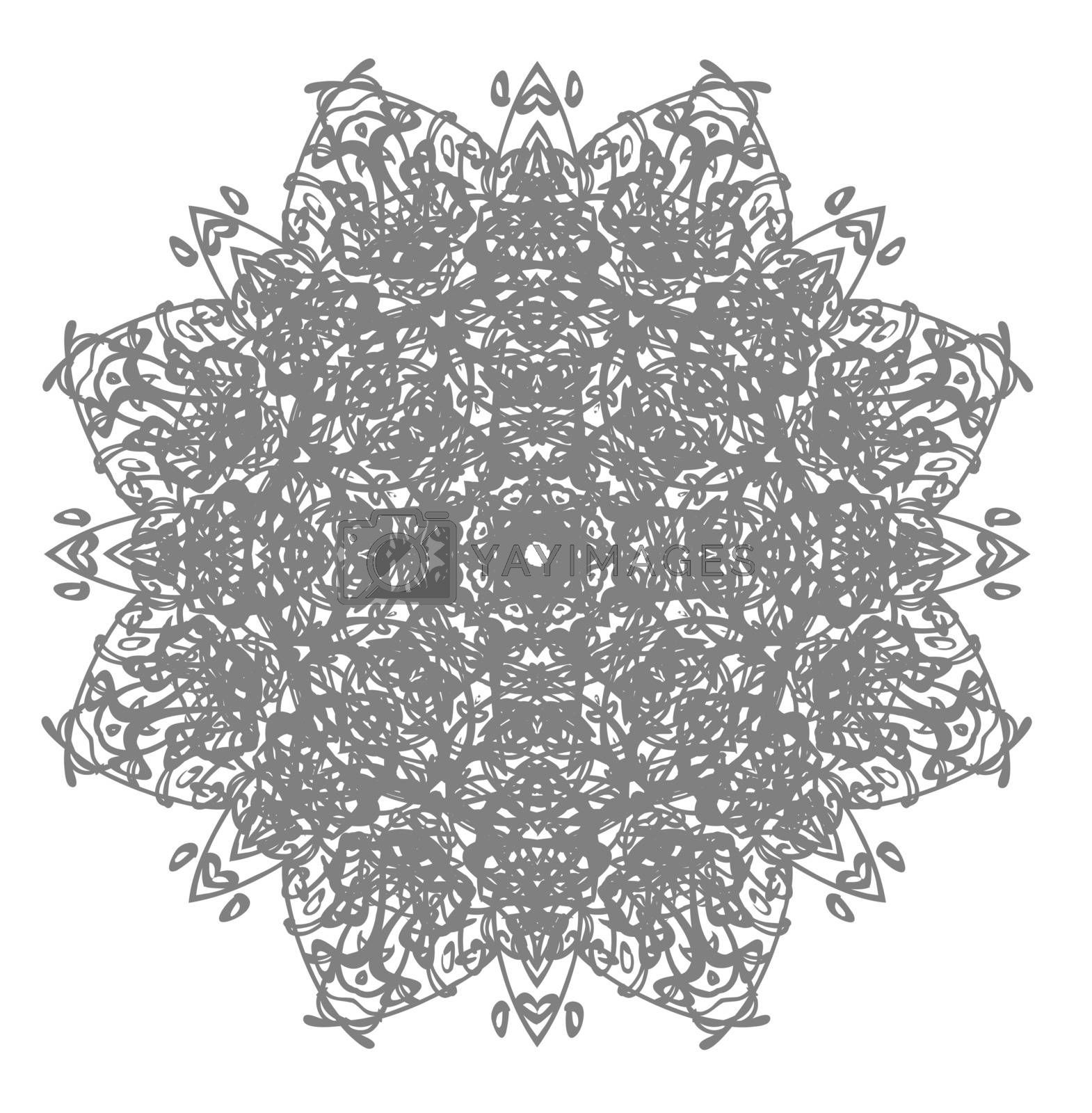 Tattoo or print illustration of beautiful and detailed elegant grey mandala