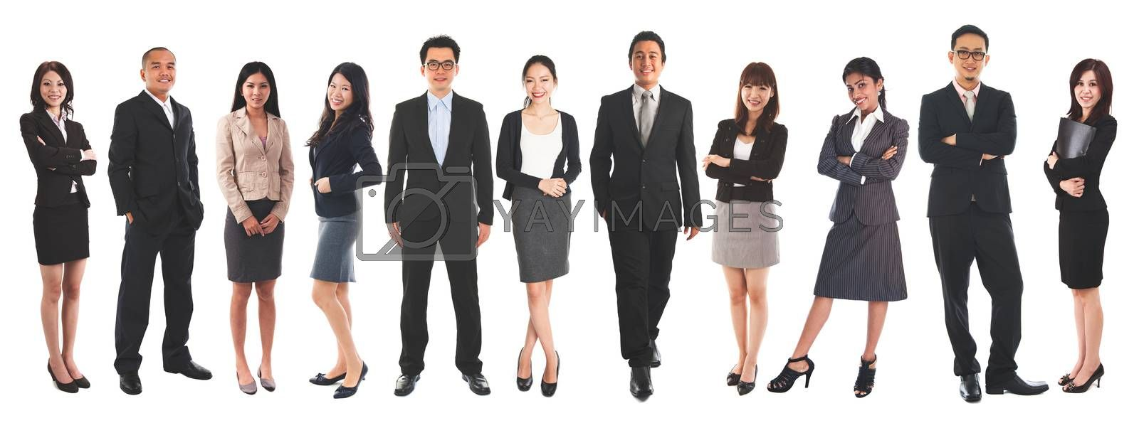 Full body diverse Asian business people and mixed age group, standing isolated on white background.
